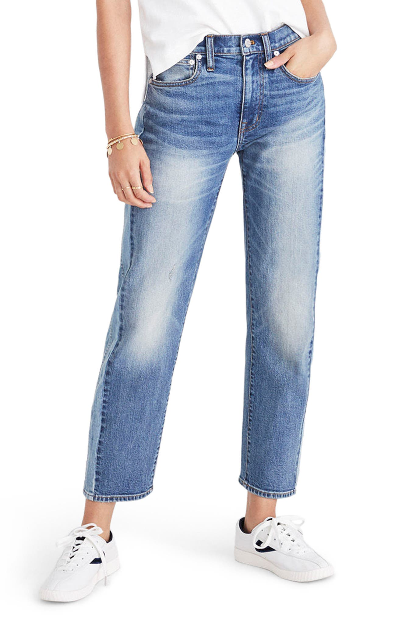 Madewell Cruiser Pieced Straight Leg Crop Jeans (Abilene Wash)