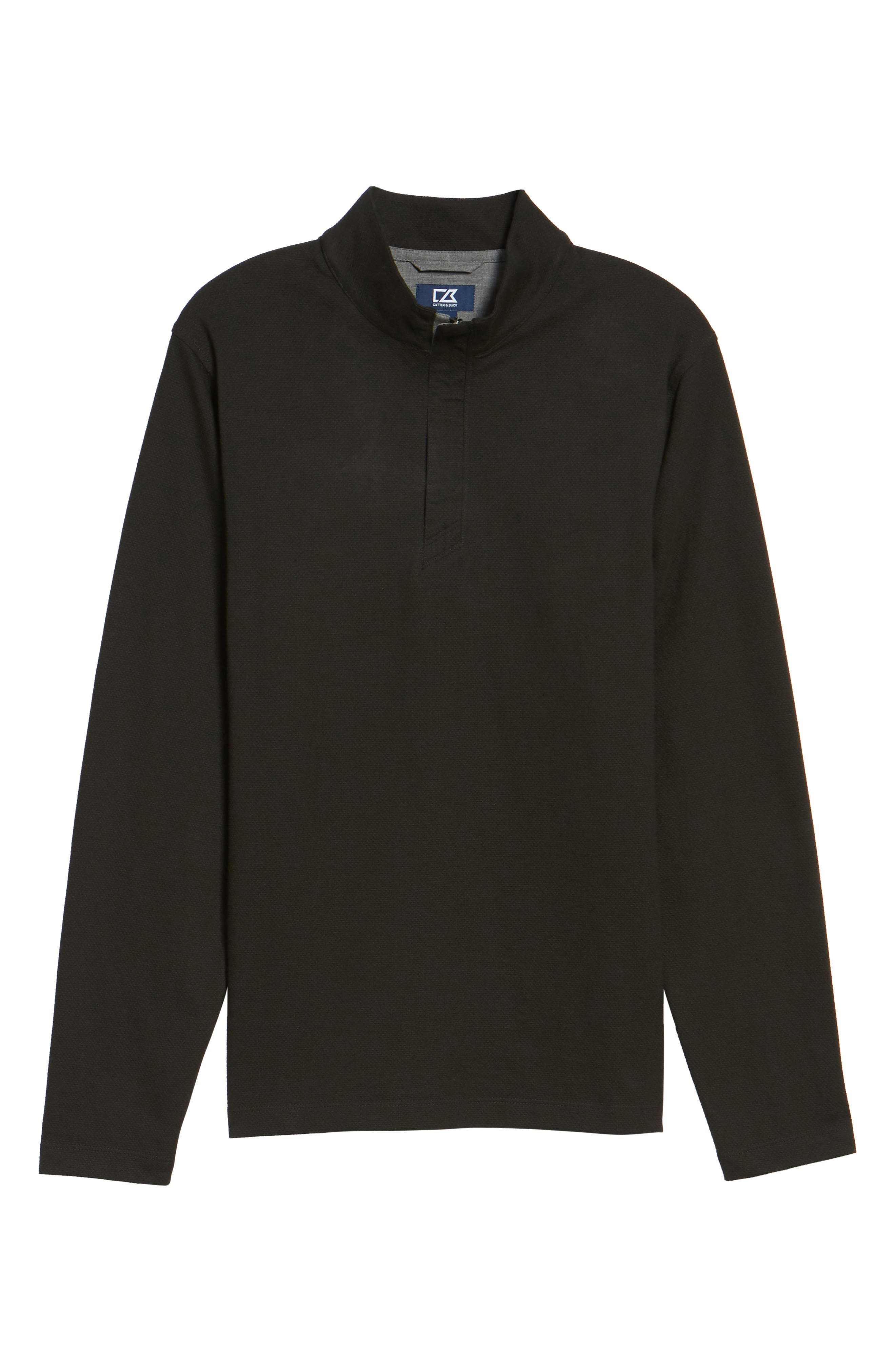 Hewitt Quarter-Zip Waffle Knit Pullover,                             Alternate thumbnail 6, color,                             Black