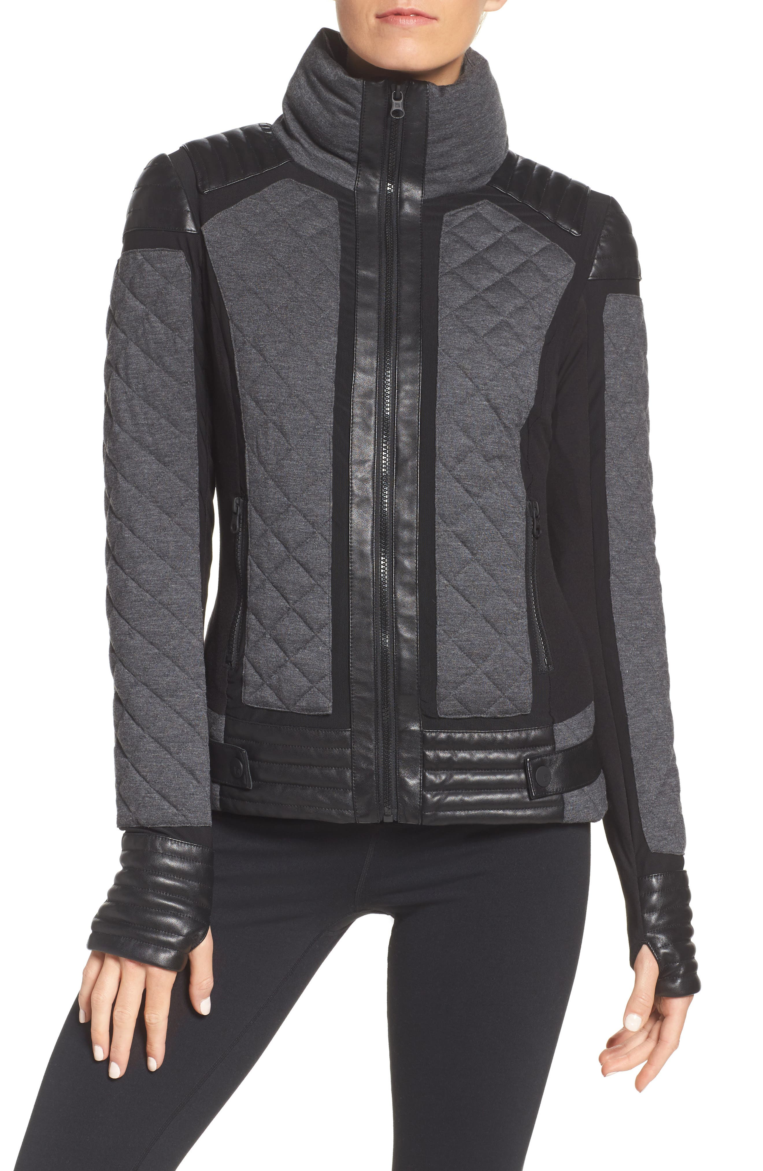 Mesh Inset Moto Jacket,                         Main,                         color, Charcoal Heather