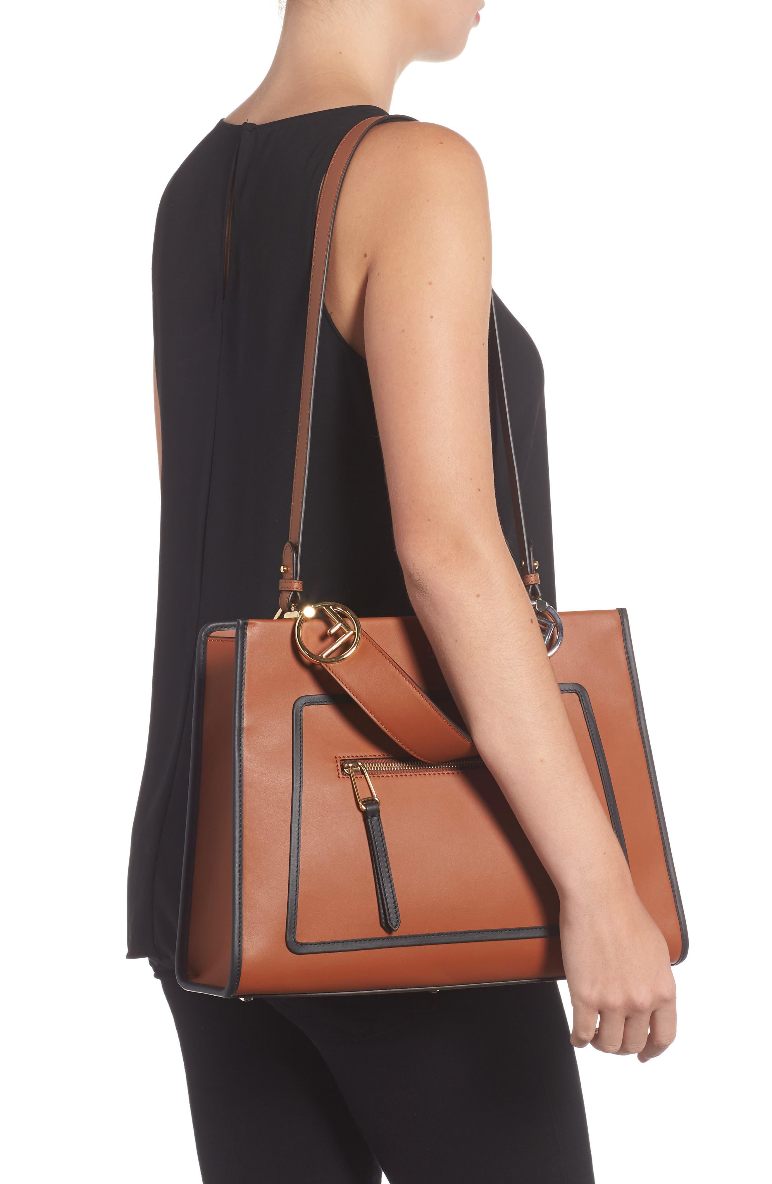 Runaway Medium Leather Tote Bag,                             Alternate thumbnail 2, color,                             Brown