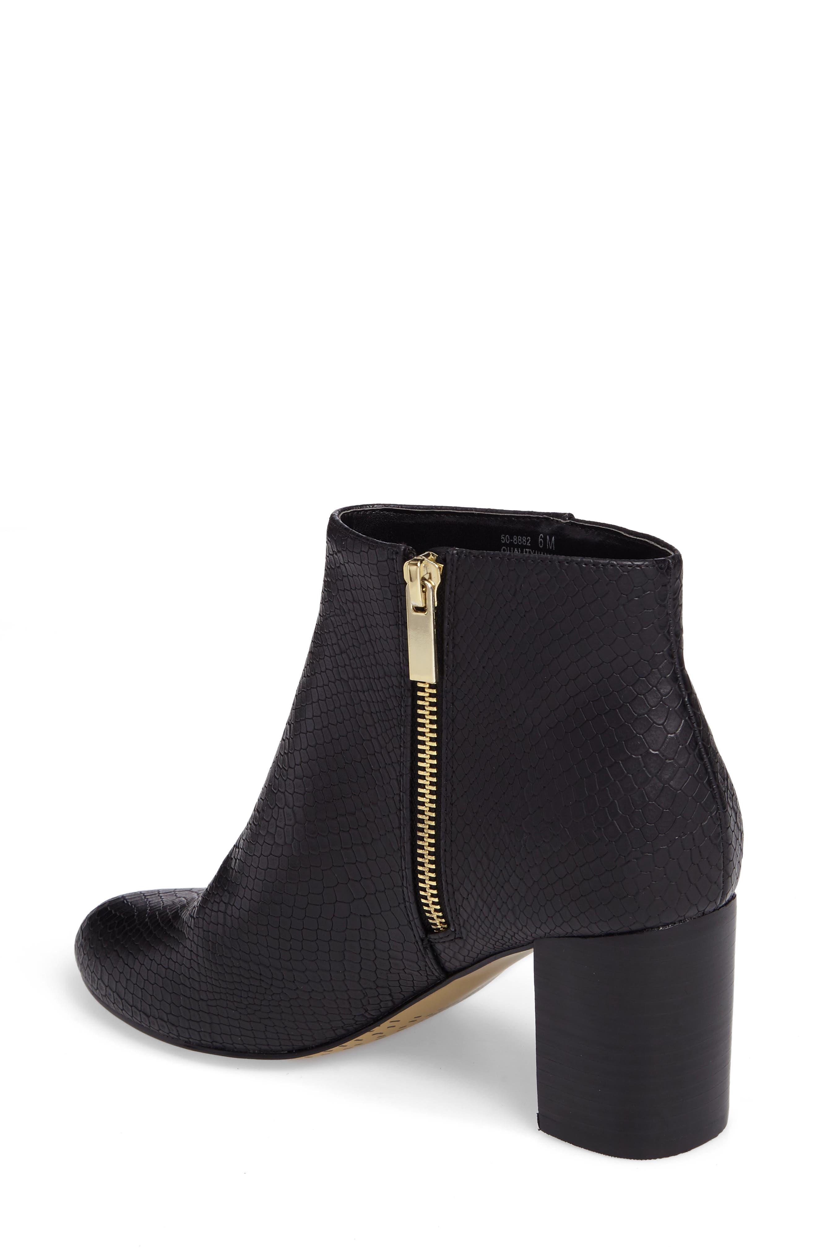 Klaudia II Block Heel Bootie,                             Alternate thumbnail 2, color,                             Black Printed Leather