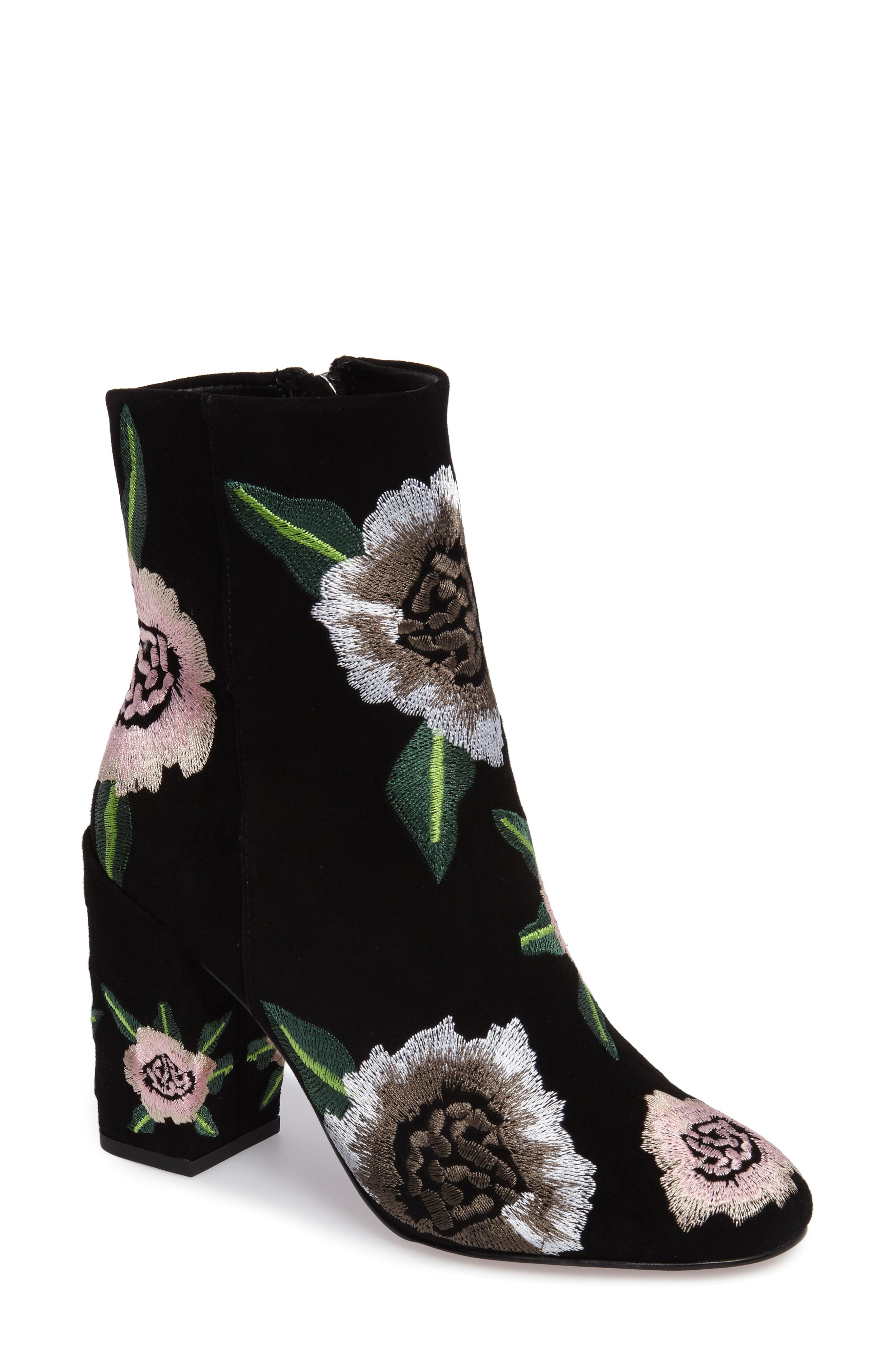 Bryce Flower Embroidered Bootie,                         Main,                         color, Black Suede