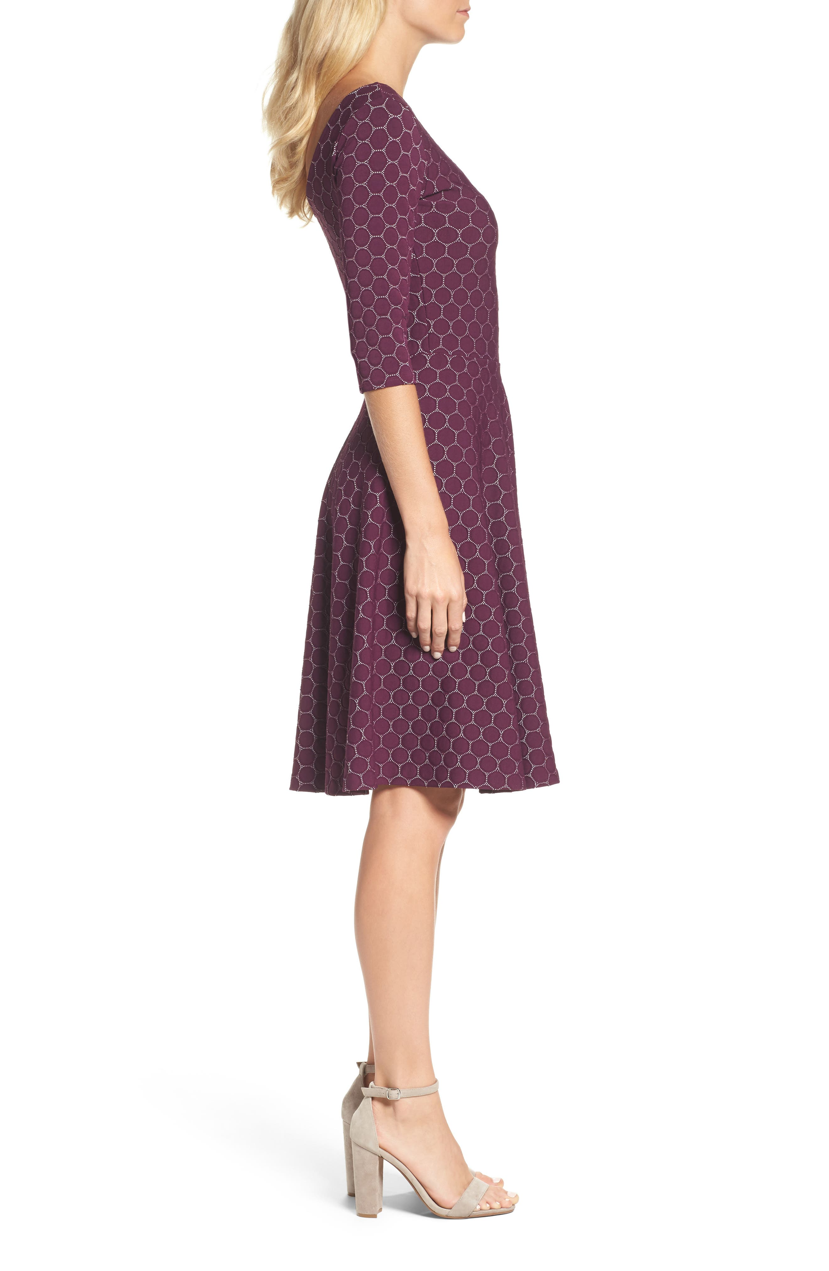 Circle Knit Fit & Flare Dress,                             Alternate thumbnail 3, color,                             Purple