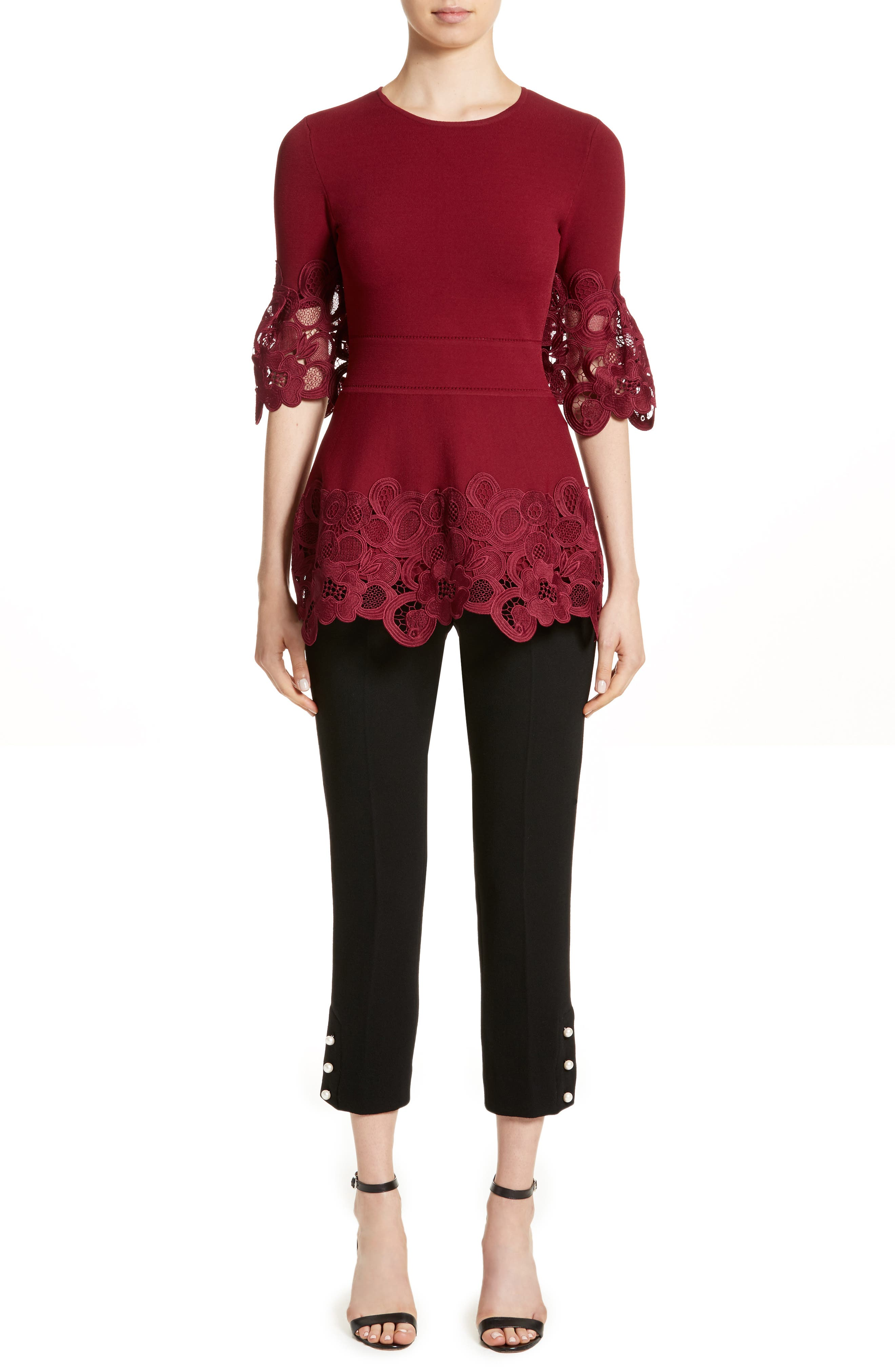 Lace Hem Knit Top,                             Alternate thumbnail 8, color,                             Mulberry