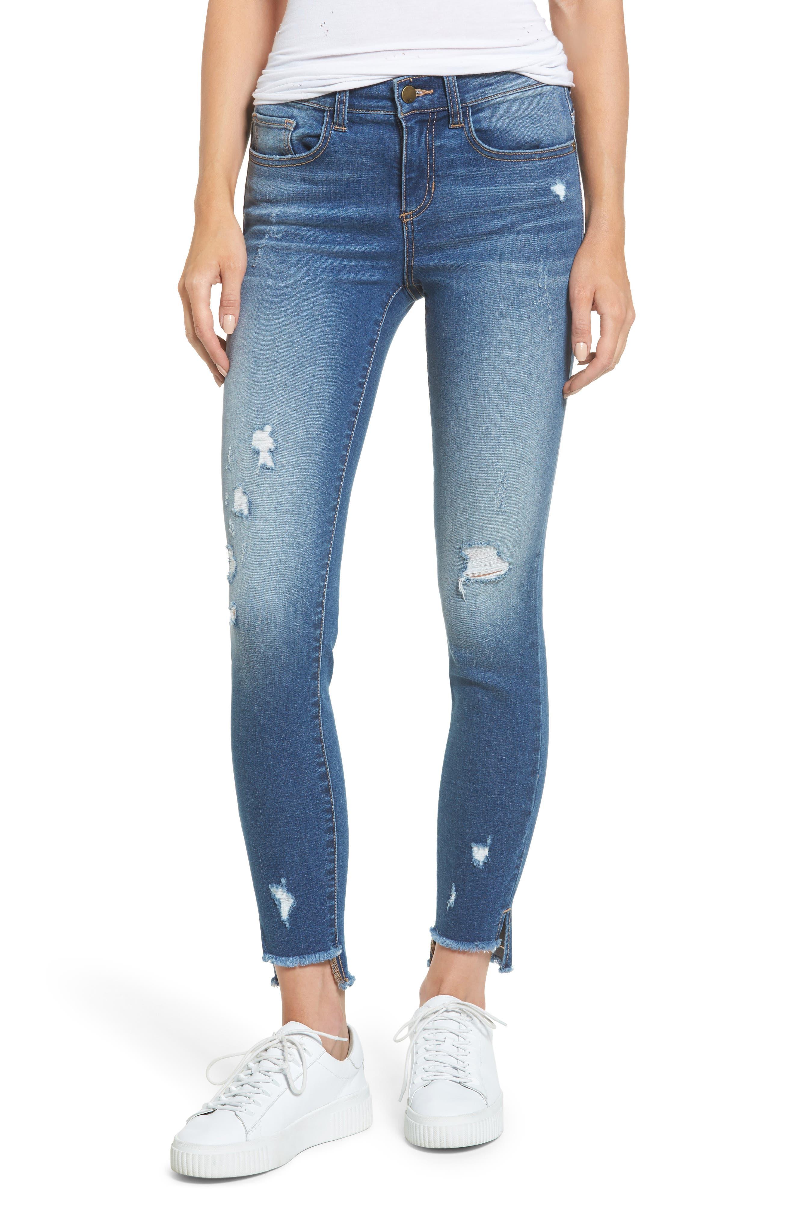 SP Black Distressed Step Hem Skinny Jeans