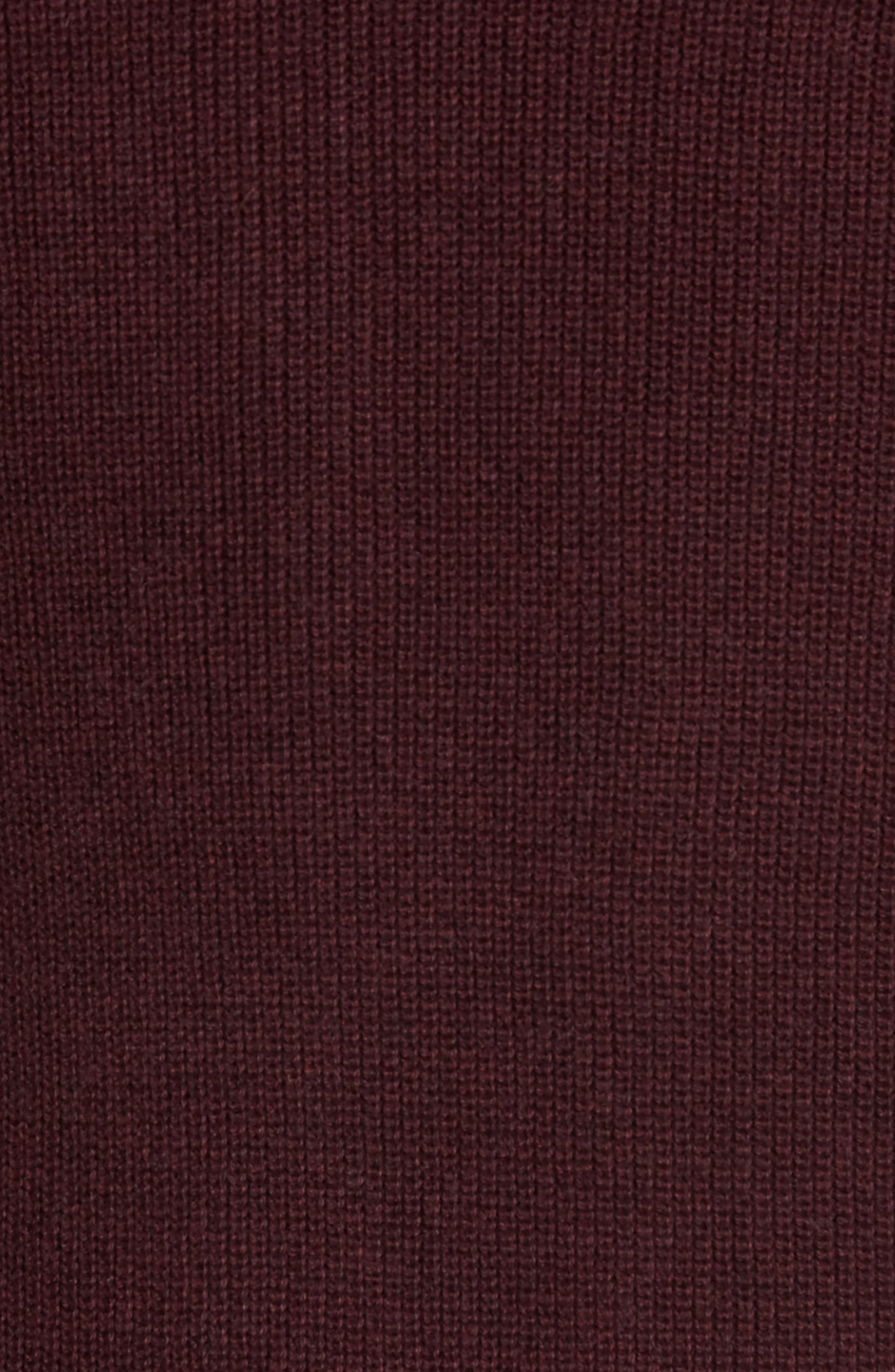 Cotton & Cashmere Henley Sweater,                             Alternate thumbnail 5, color,                             Burgundy Fudge Heather