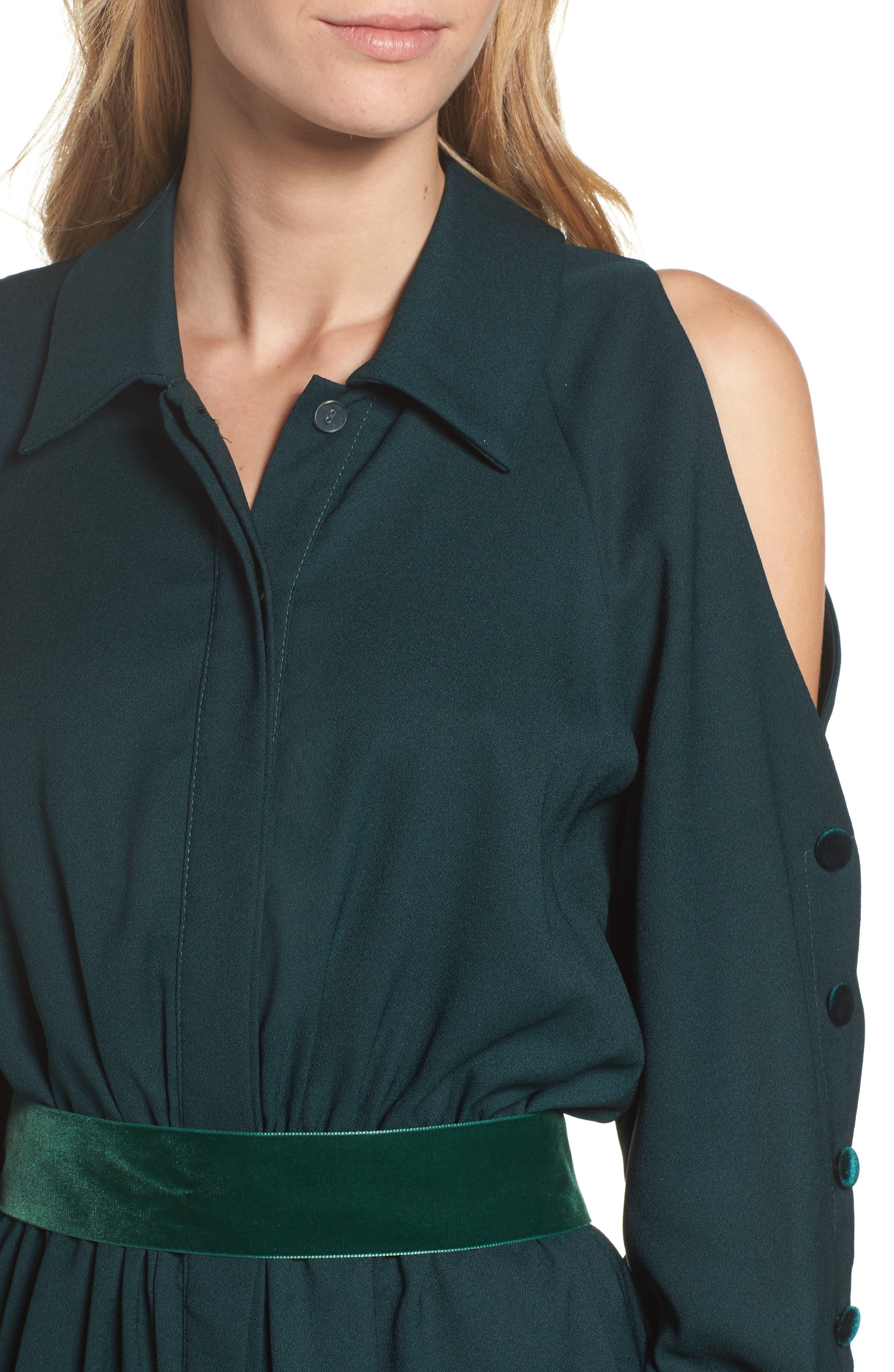Alternate Image 5  - Eliza J Cold Shoulder Shirtdress (Regular & Petite)