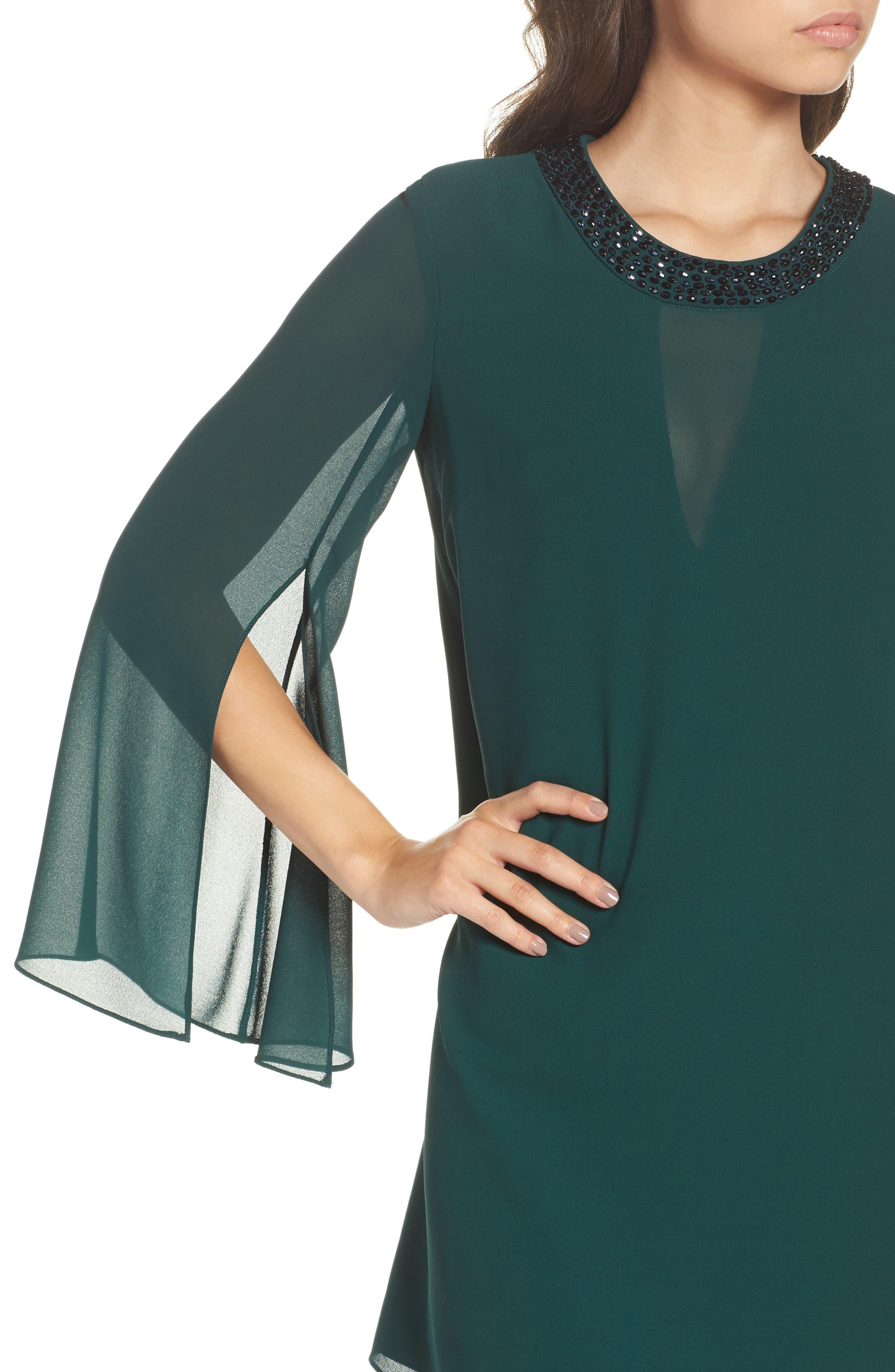 Embellished Chiffon Shift Dress,                             Alternate thumbnail 4, color,                             Hunter