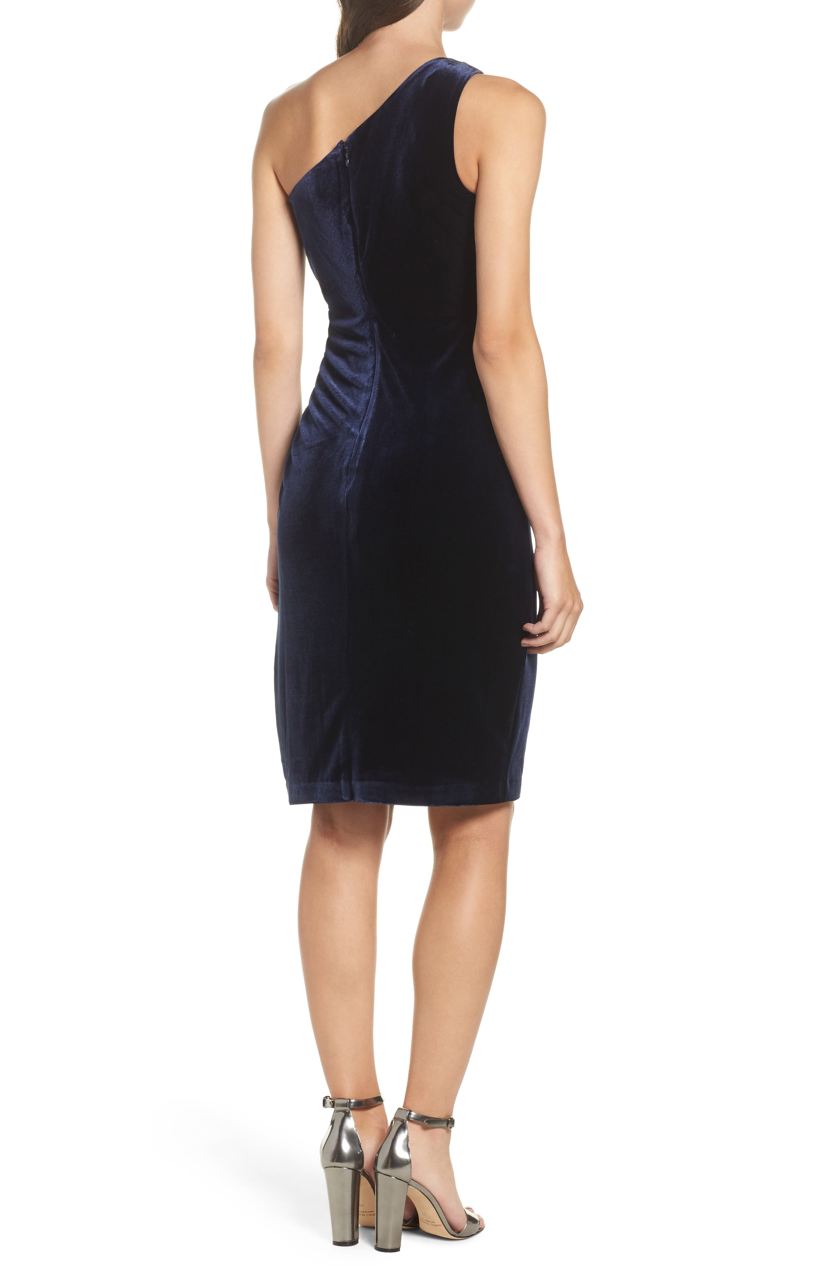 One-Shoulder Velvet Dress,                             Alternate thumbnail 2, color,                             Navy
