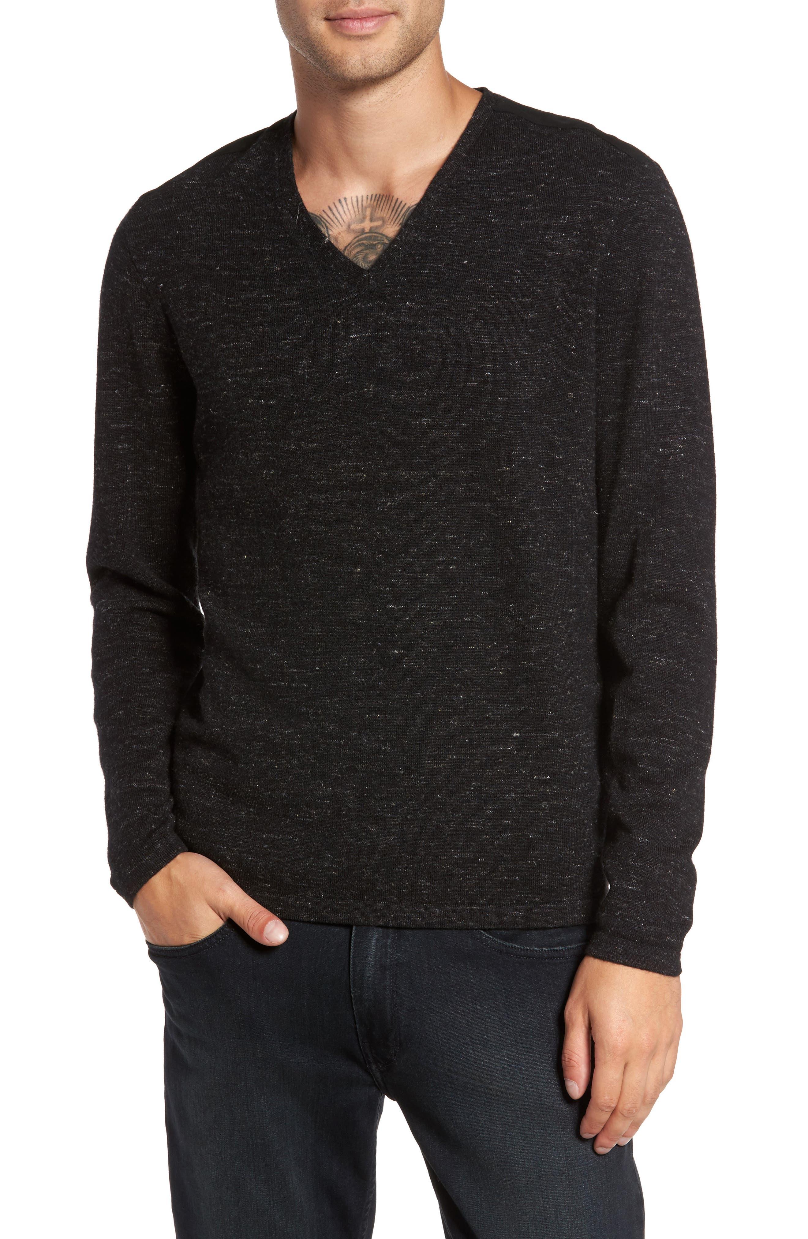 Long Sleeve V-Neck Sweater,                         Main,                         color, Black