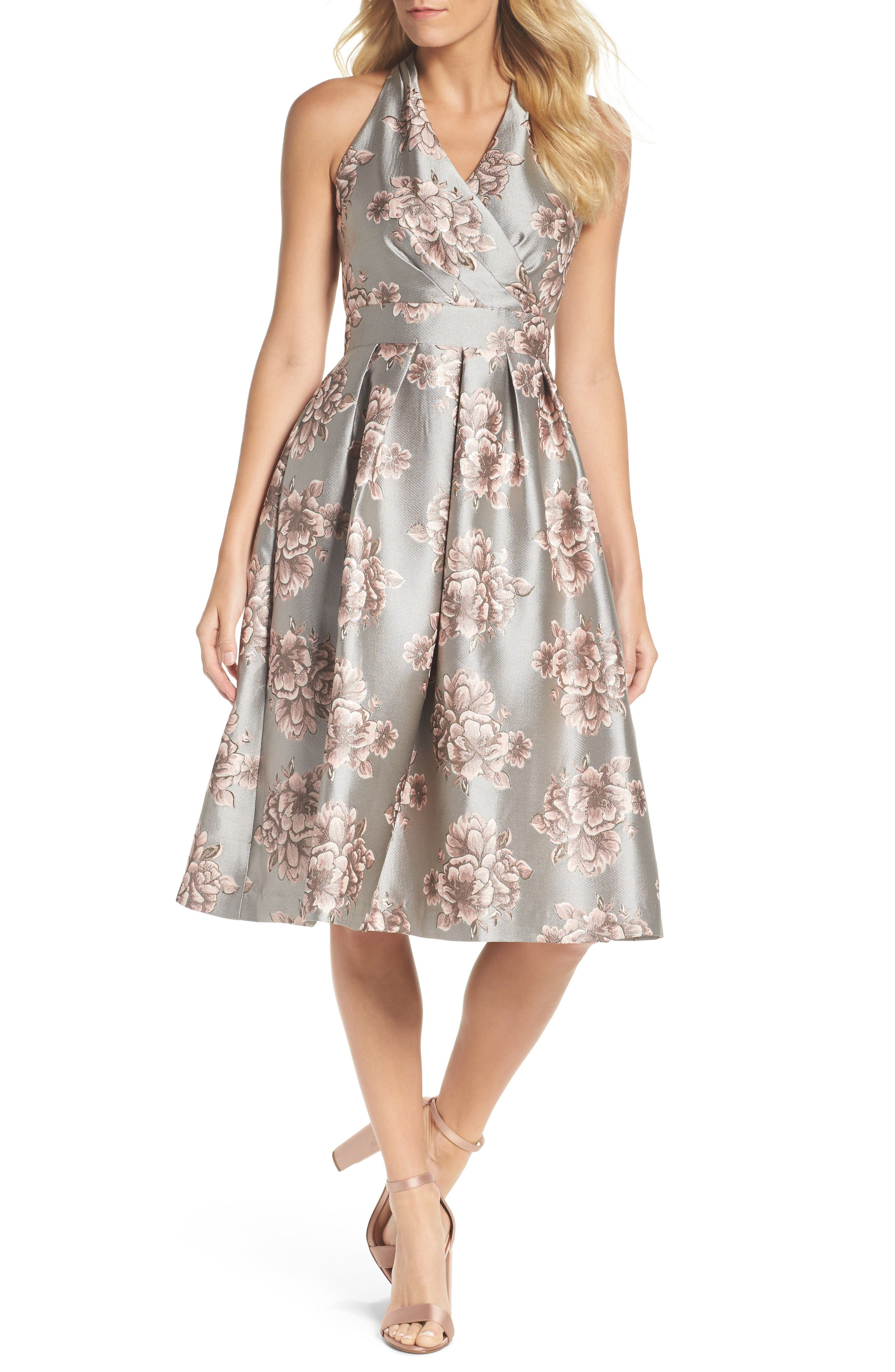 Metallic Floral Fit & Flare Dress,                         Main,                         color, Silver/ Blush