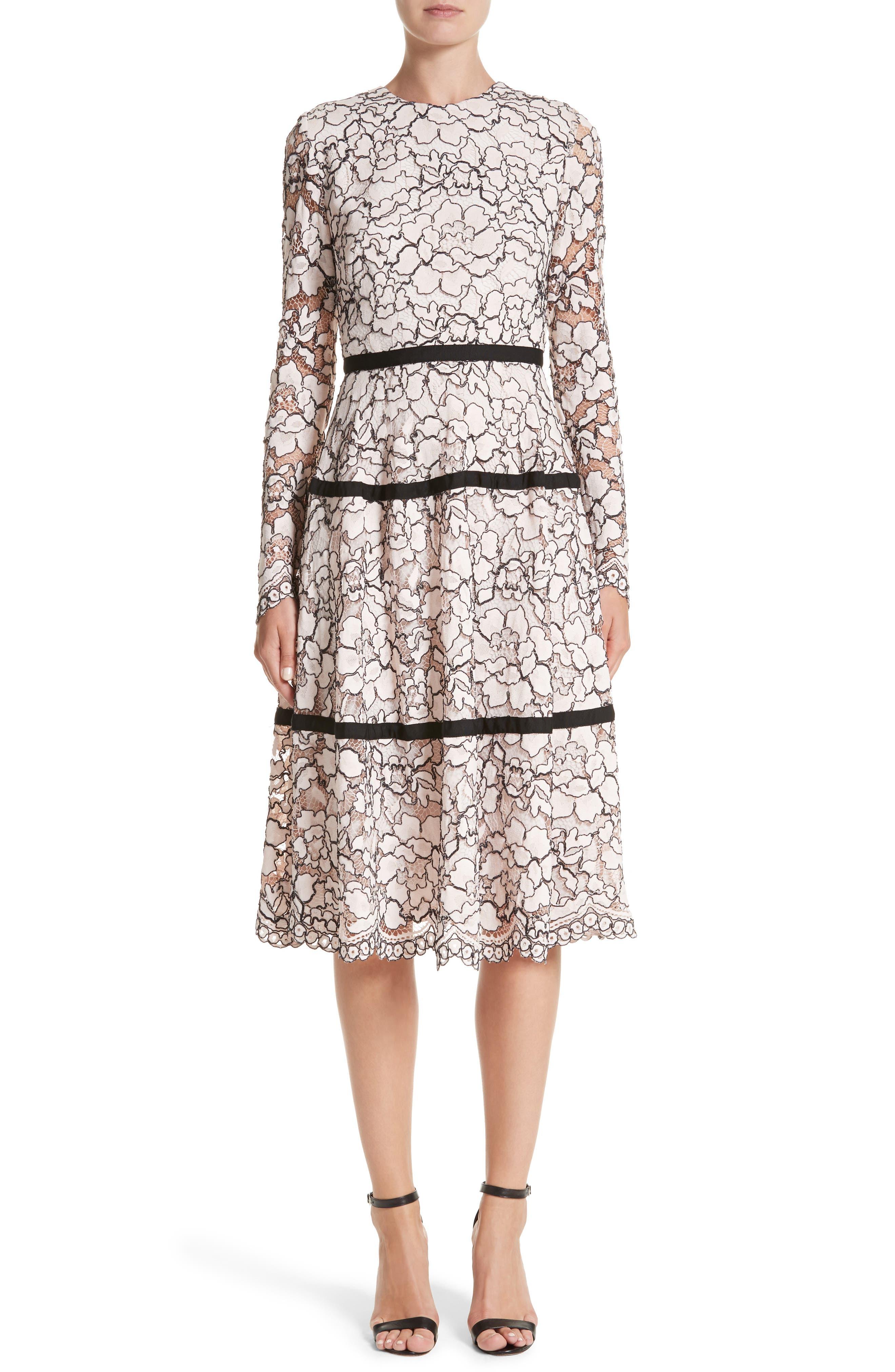 Seamed Lace A-Line Dress,                         Main,                         color, Petal