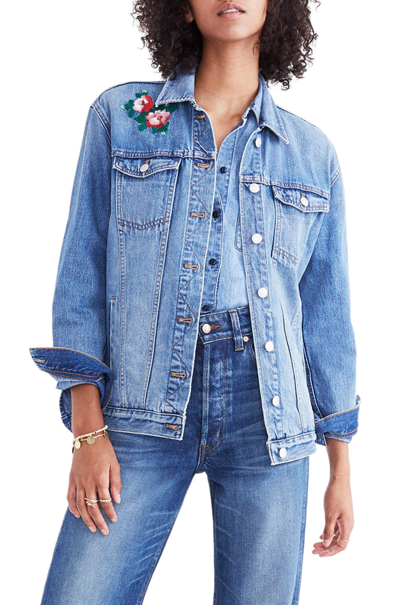 Embroidered Denim Jacket,                         Main,                         color, Redding Wash