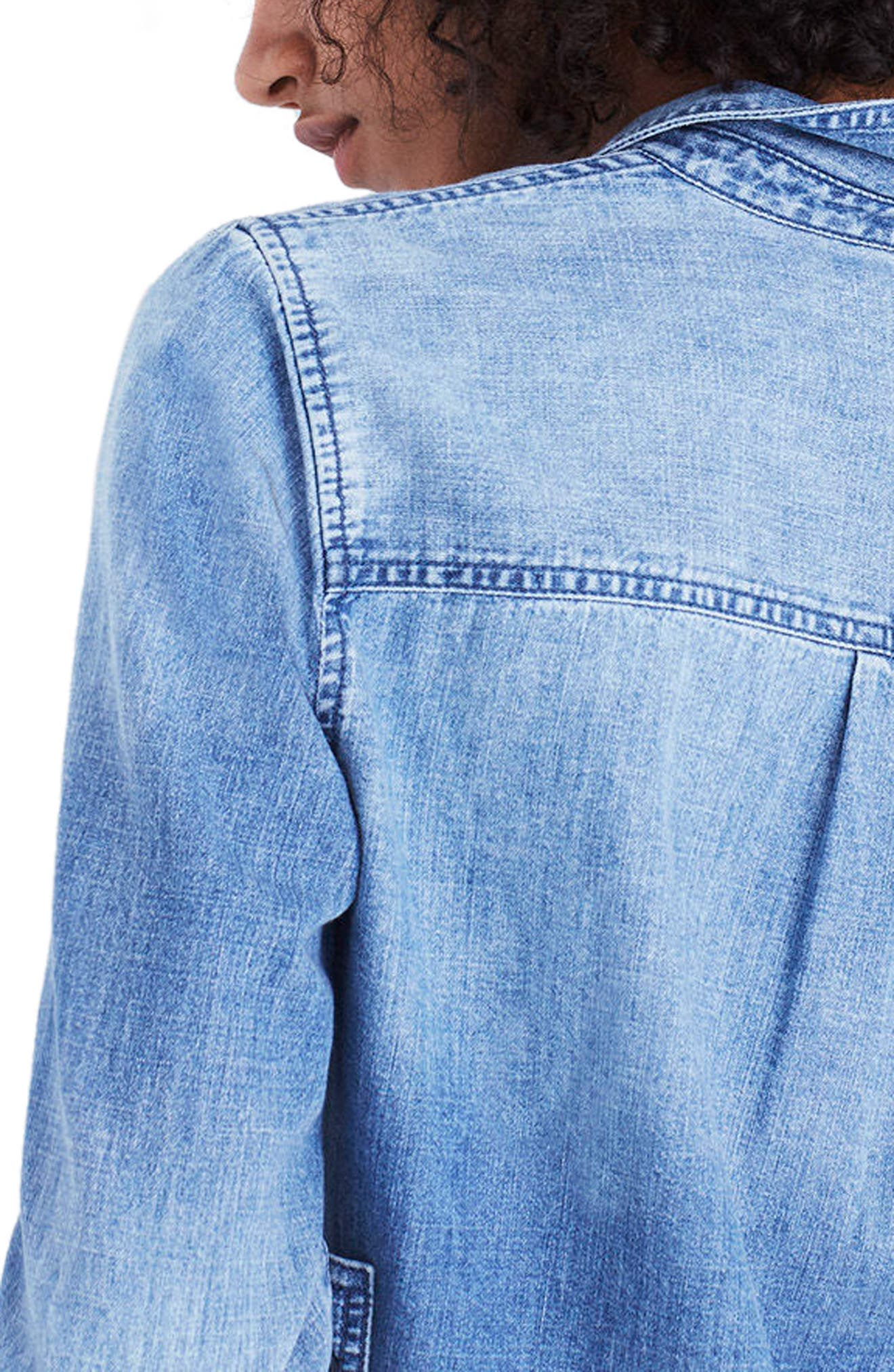 Cutoff Denim Shirt,                             Alternate thumbnail 2, color,                             Benwick Wash