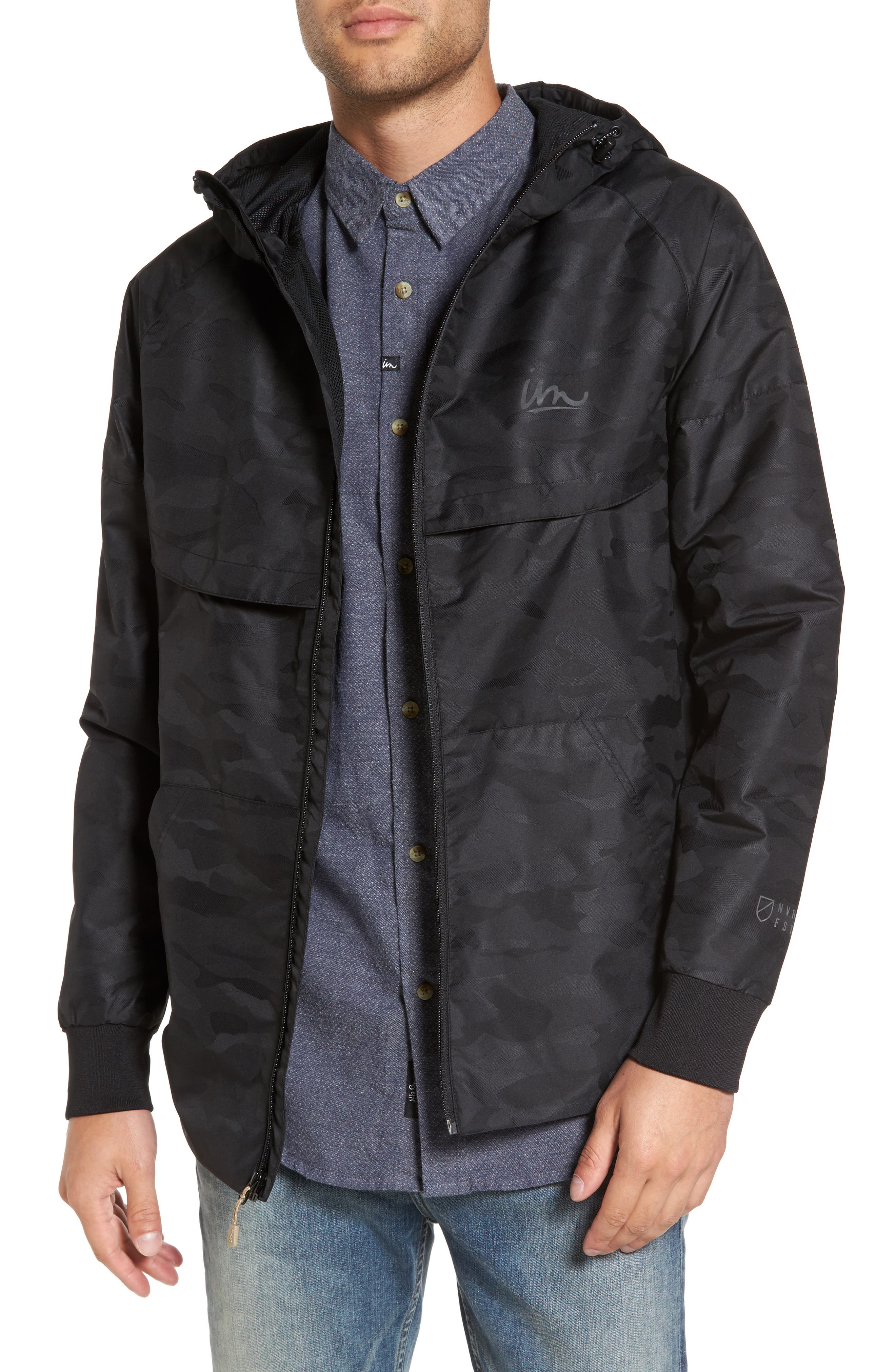 Larter Breaker Jacket,                         Main,                         color, Black Camo