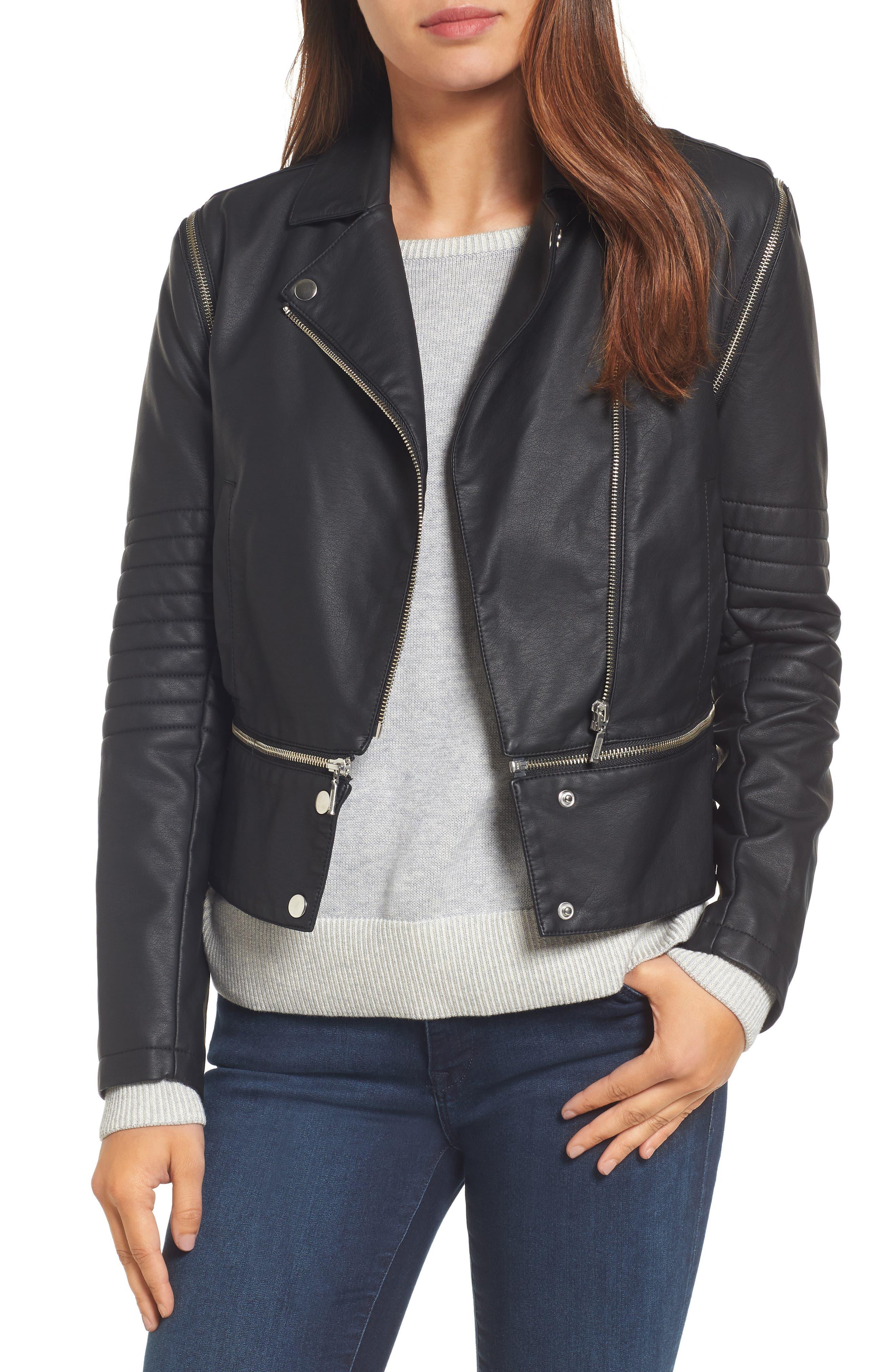 Halogen® Convertible Faux Leather Moto Jacket (Regular & Petite)
