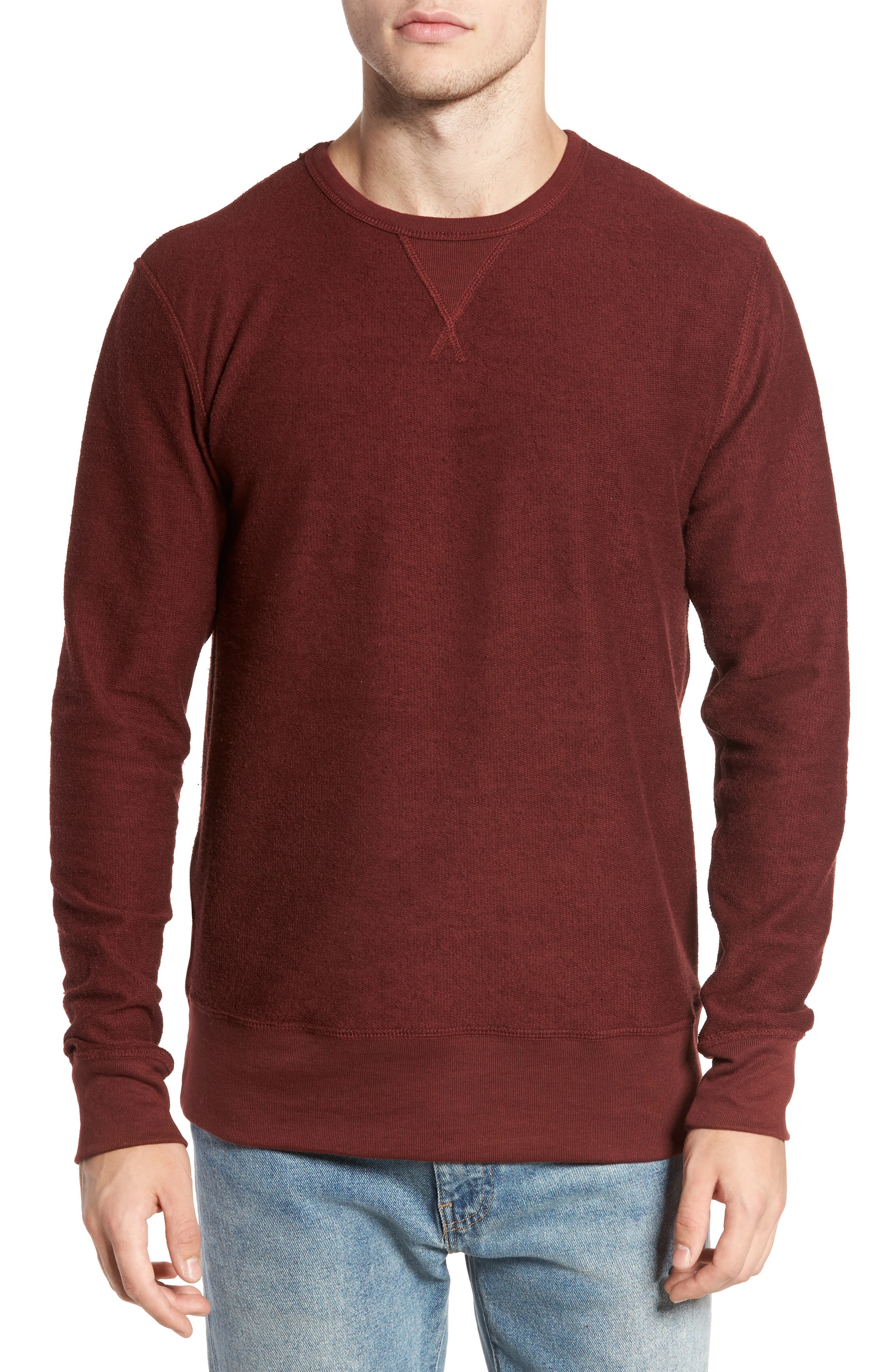 B-Side Reversible Crewneck Sweatshirt,                         Main,                         color, Maroon