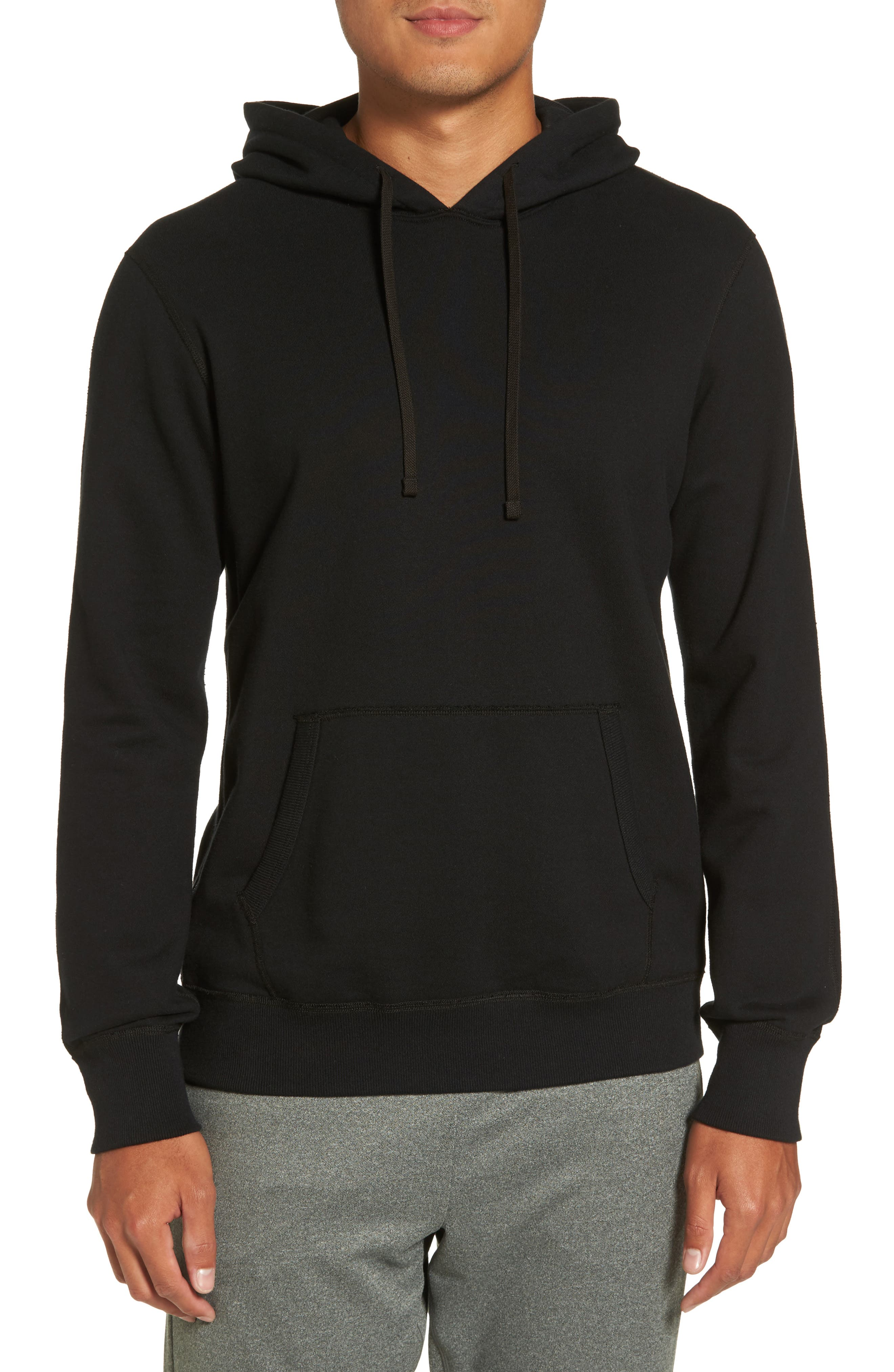 French Terry Hoodie,                         Main,                         color, Black