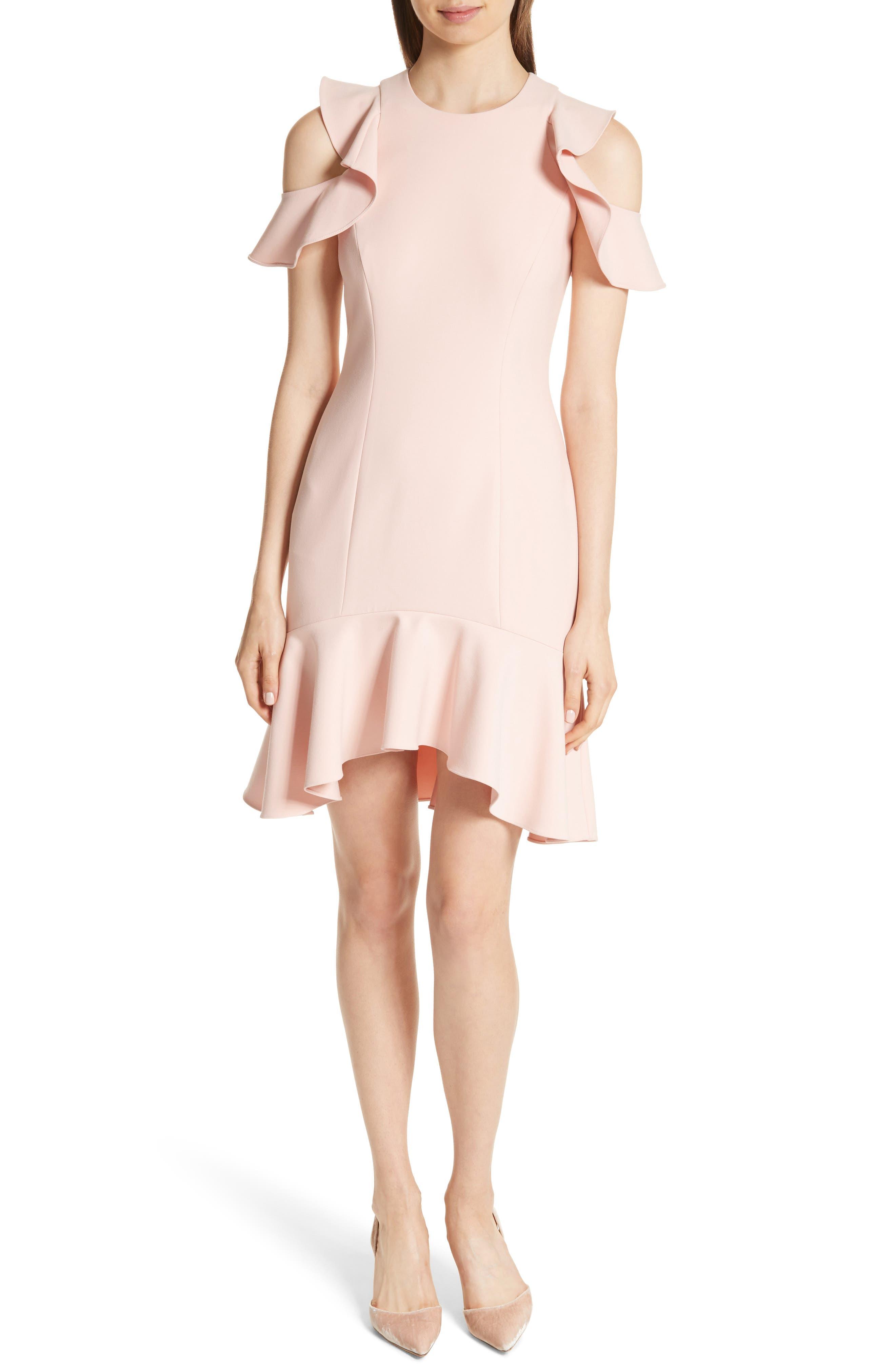 Main Image - Cinq à Sept Micah Ruffle Cold Shoulder Dress