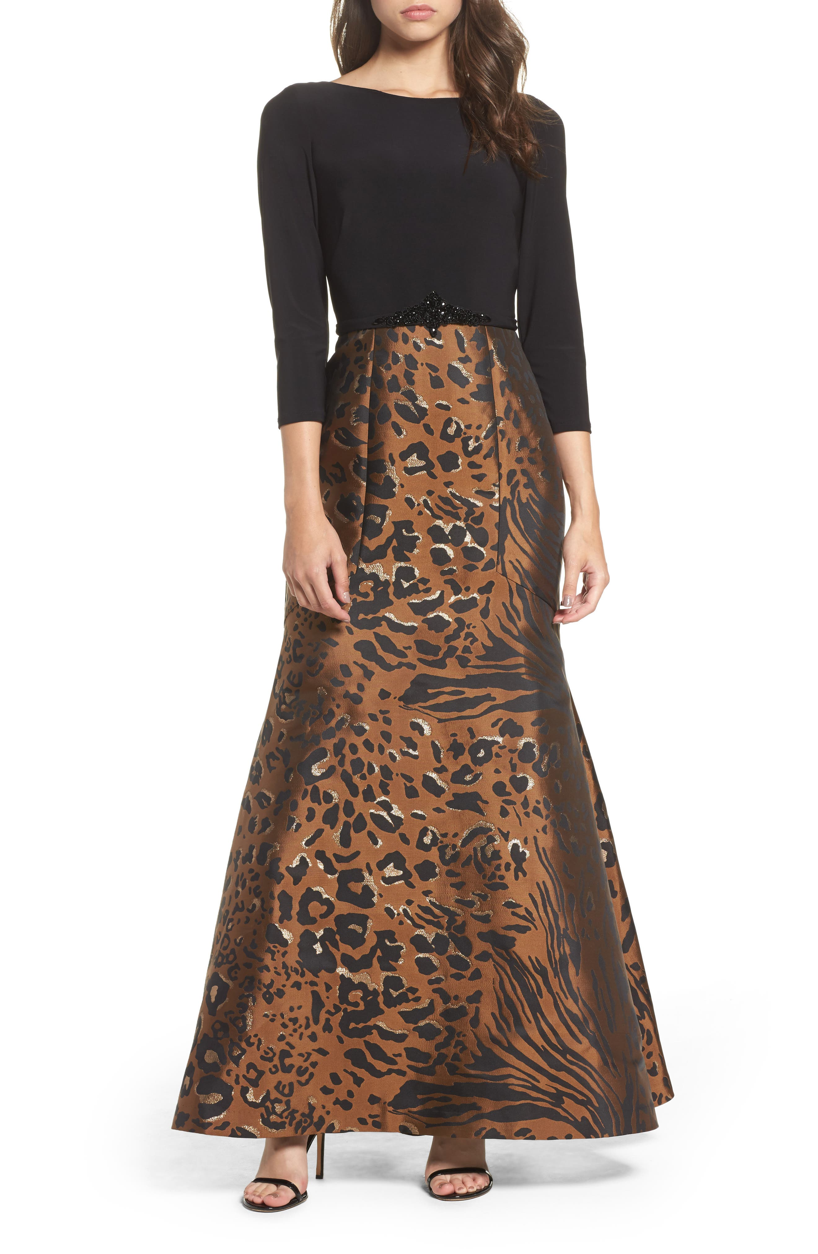 Embellished Mixed Media Trumpet Gown,                         Main,                         color, Black Tan