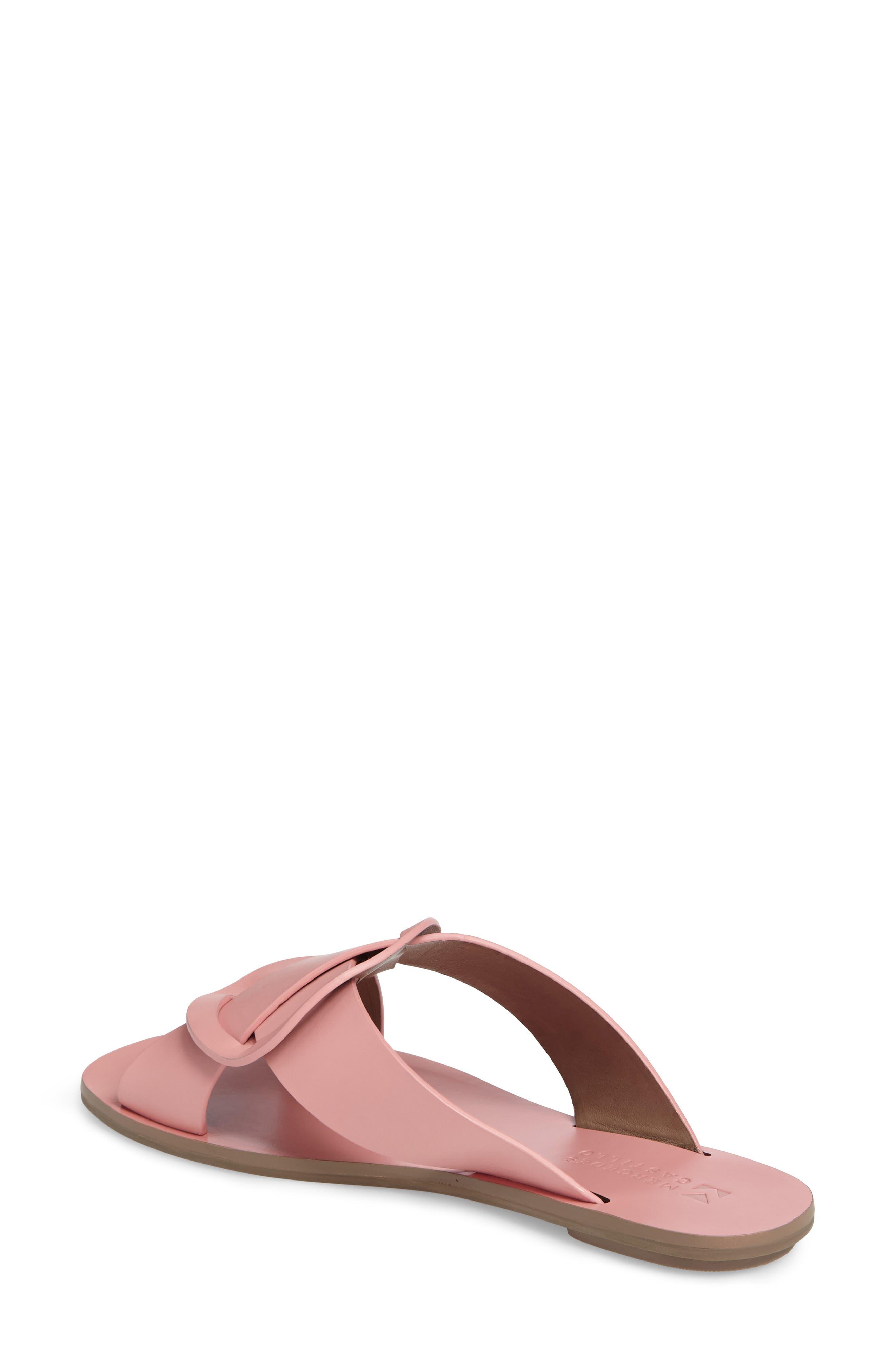 Carlein Slide Sandal,                             Alternate thumbnail 3, color,                             Pink Peony Leather