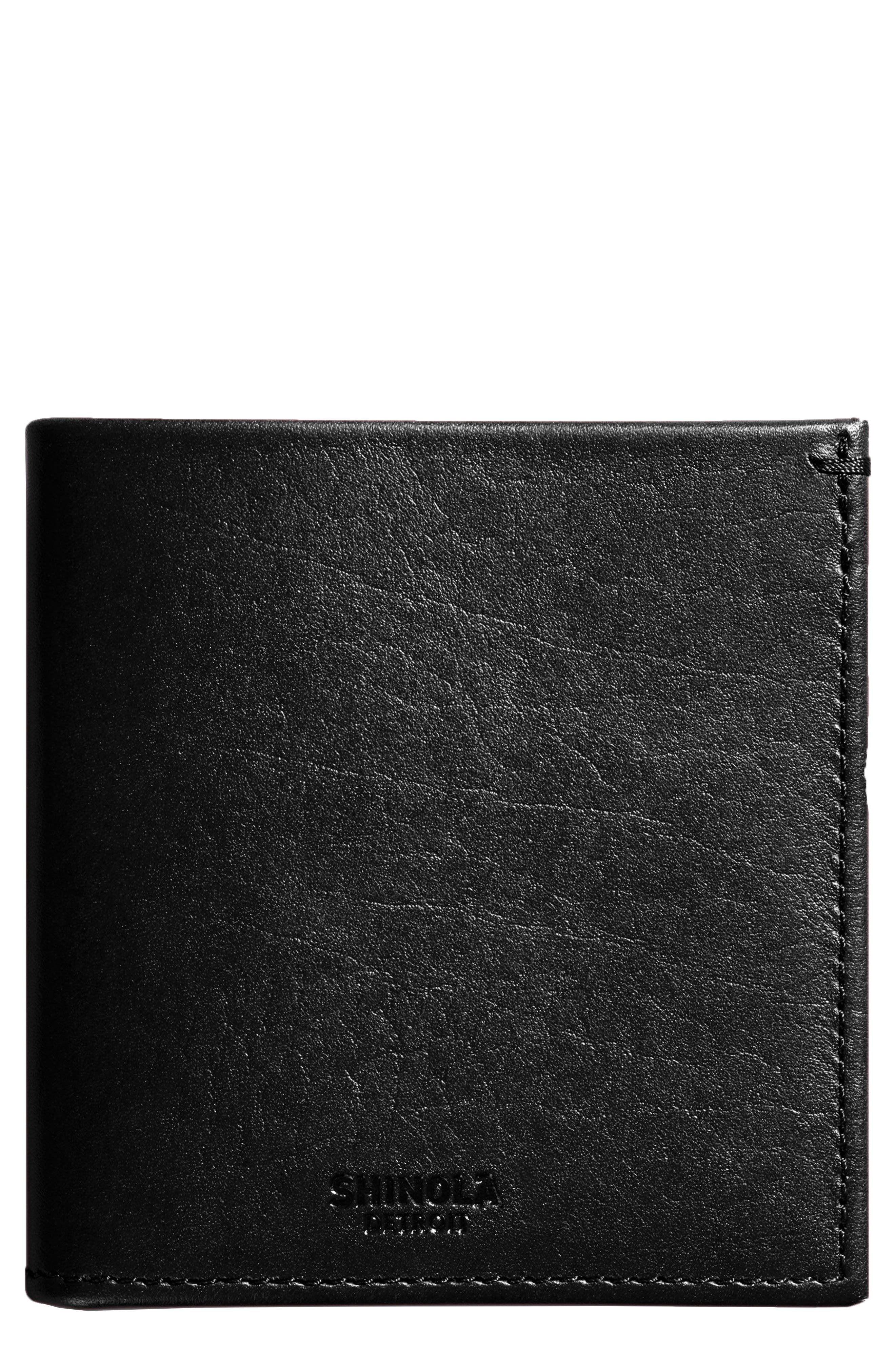 Square Bifold Leather Wallet,                         Main,                         color, Black