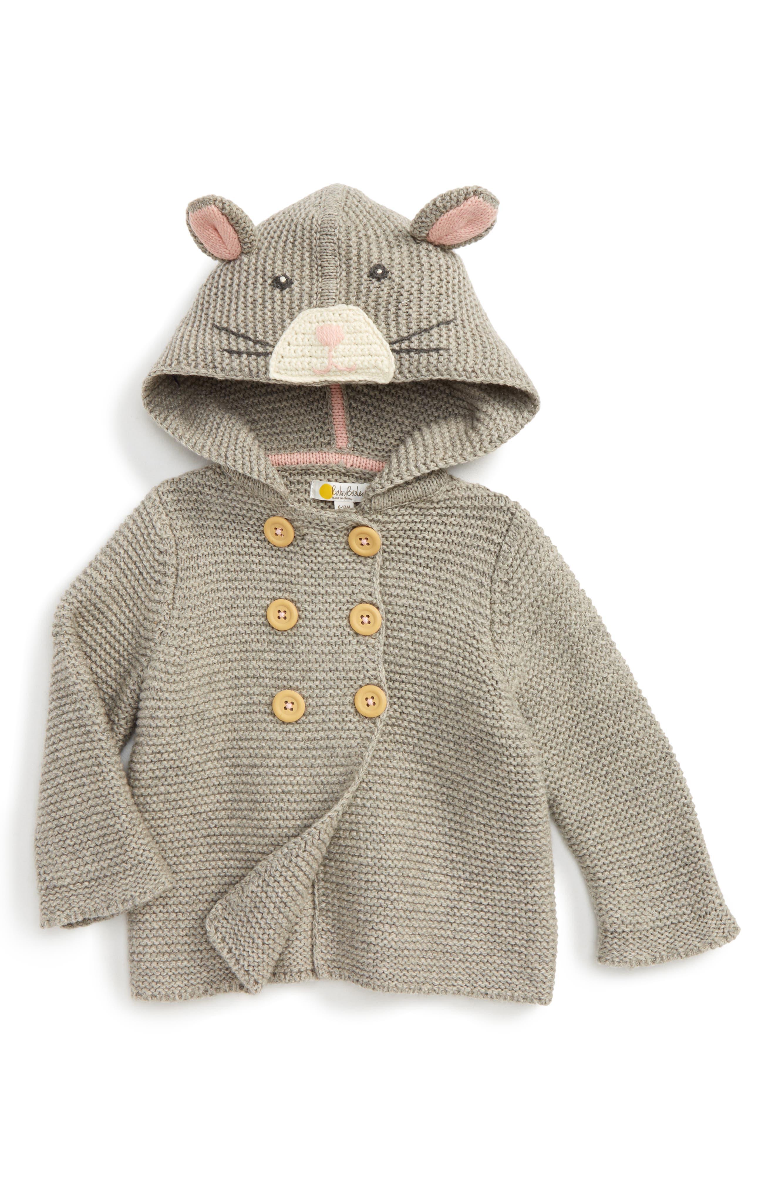Fun Animal Knit Jacket,                             Main thumbnail 1, color,                             Grey Marl Mouse