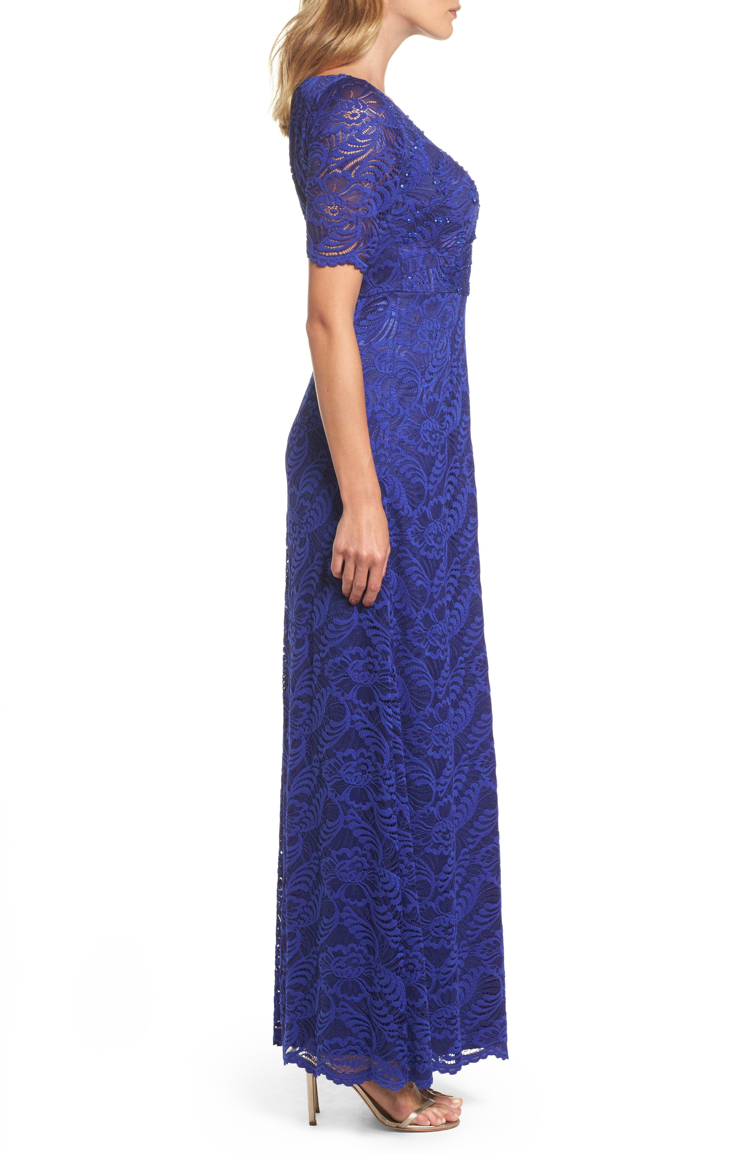 Shirred Stretch Lace Gown,                             Alternate thumbnail 3, color,                             Neptune