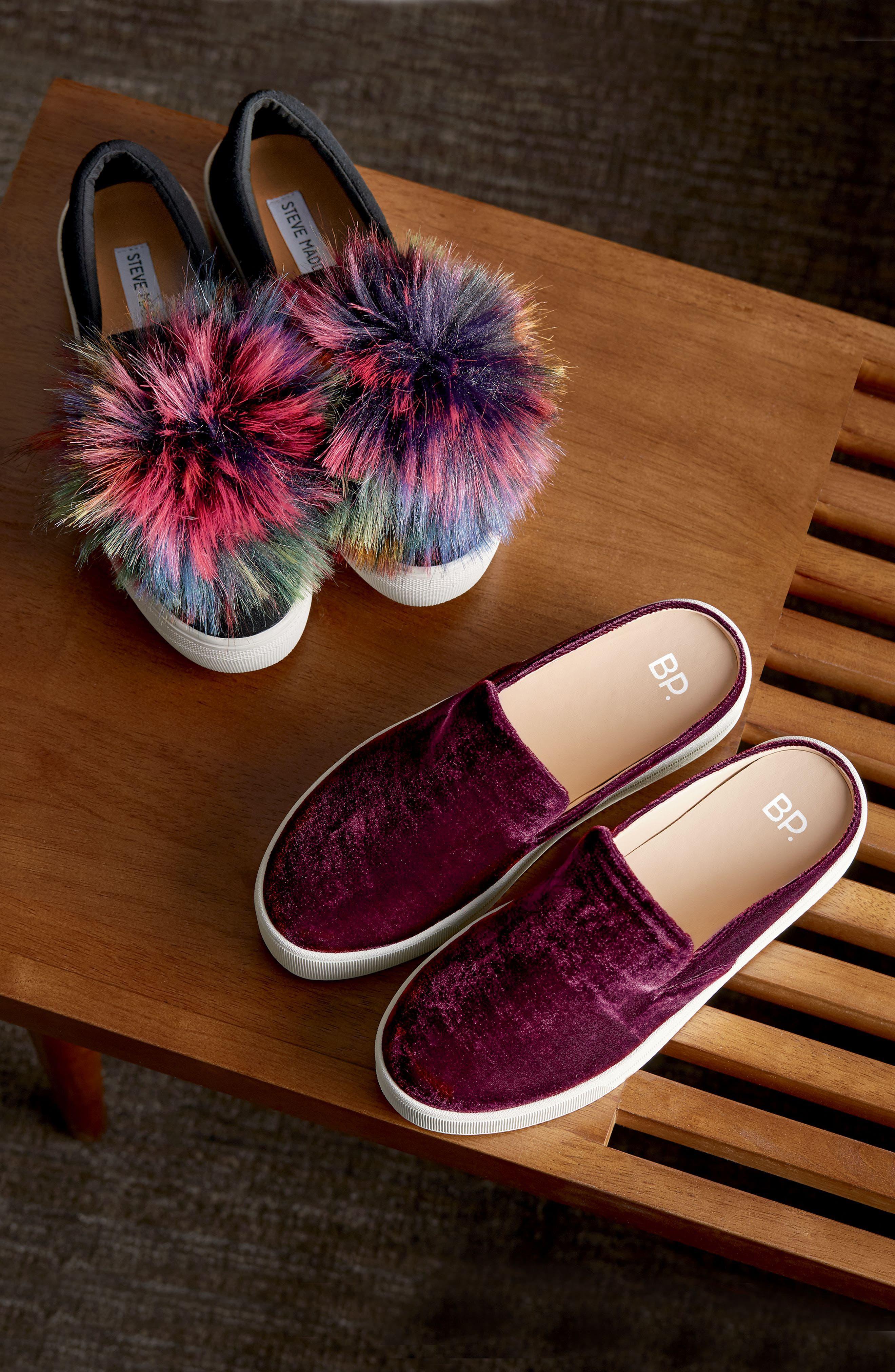 Great Faux Fur Pom Platform Sneaker,                             Alternate thumbnail 7, color,