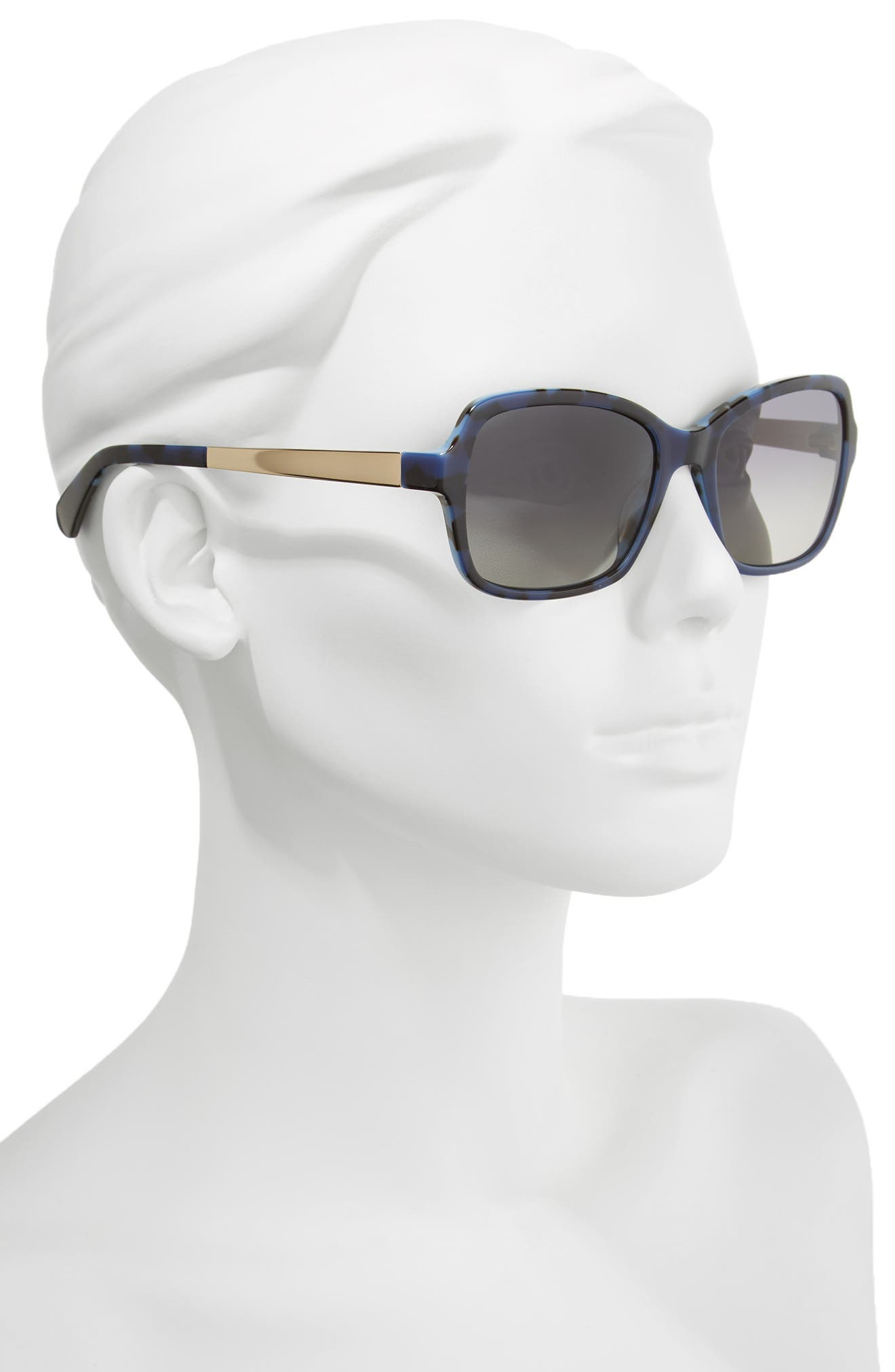 annjanette 55mm polarized sunglasses,                             Alternate thumbnail 2, color,                             Blue Havana