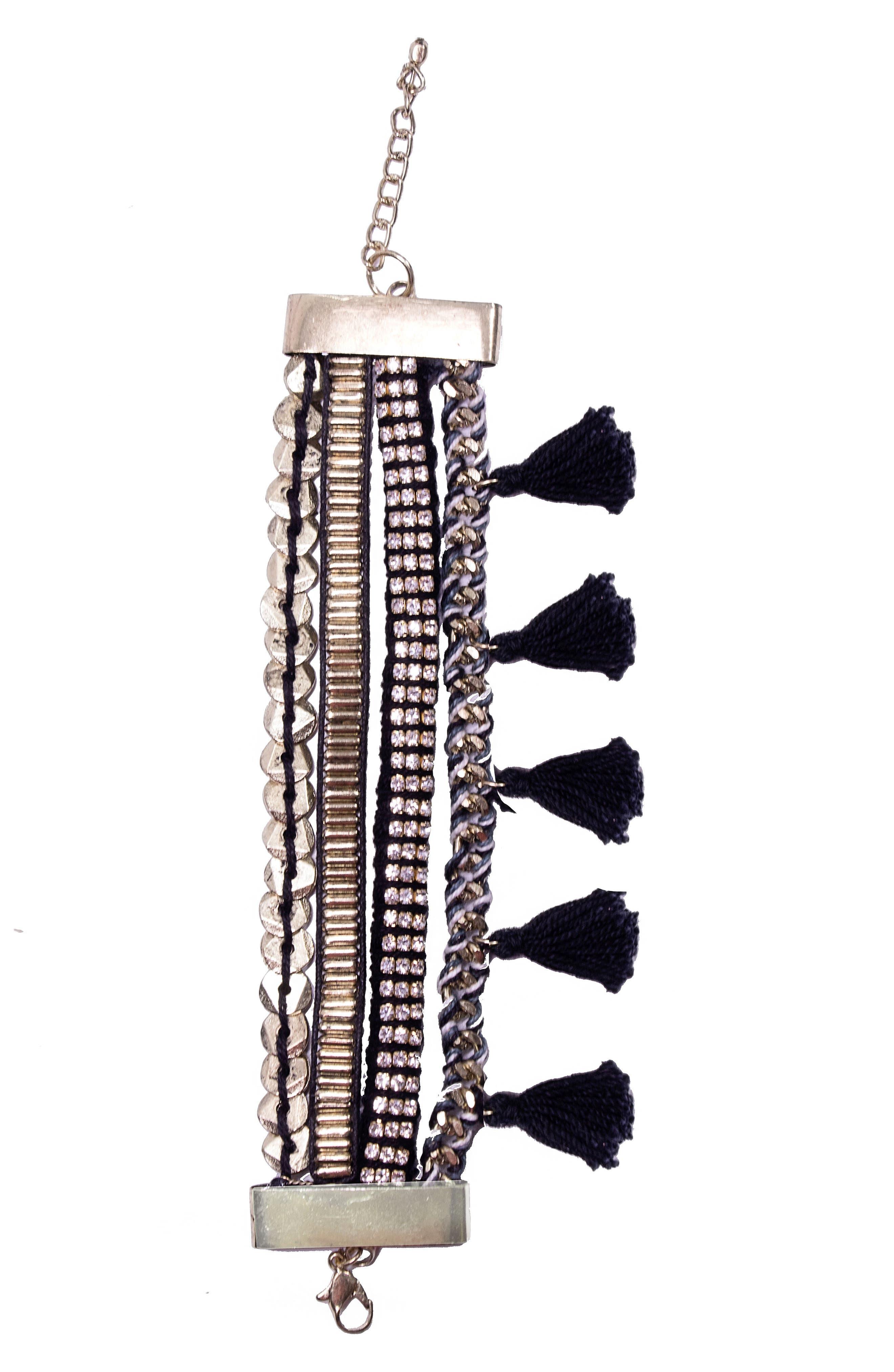 Bahia Tassel Bracelet,                         Main,                         color, Black