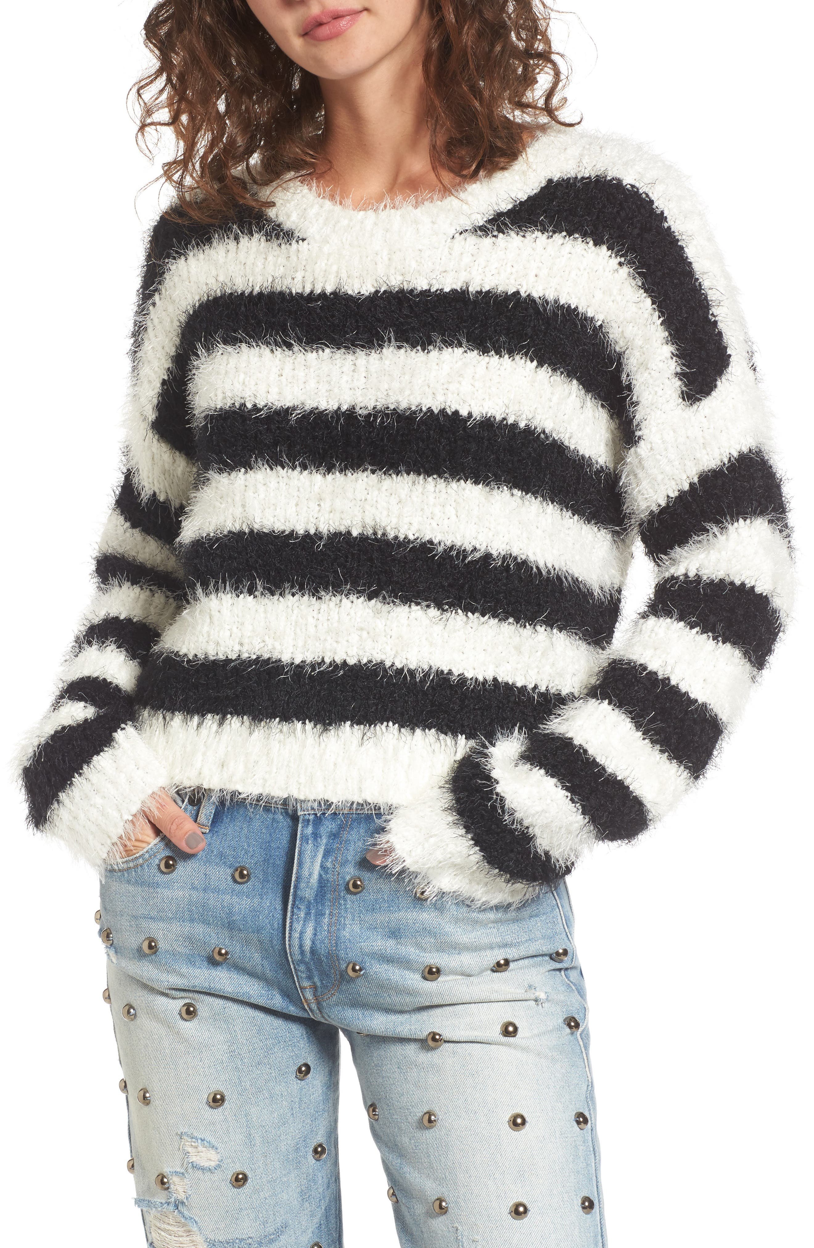 Stripe Slouchy Pullover,                         Main,                         color, Angel/ Pitch Black Stripe