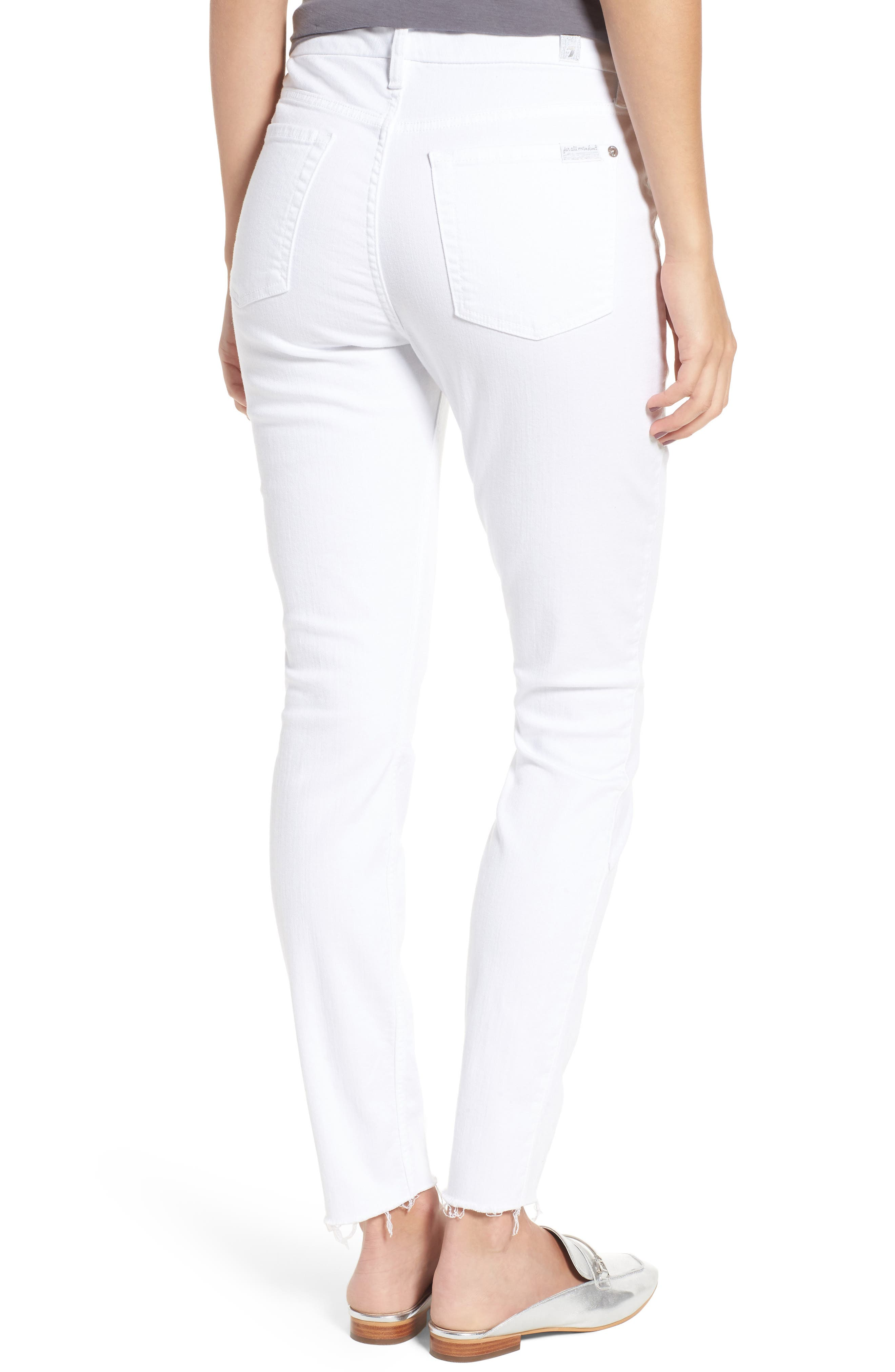 Alternate Image 2  - 7 For All Mankind® Raw Hem Skinny Jeans (Clean White Exclusive)