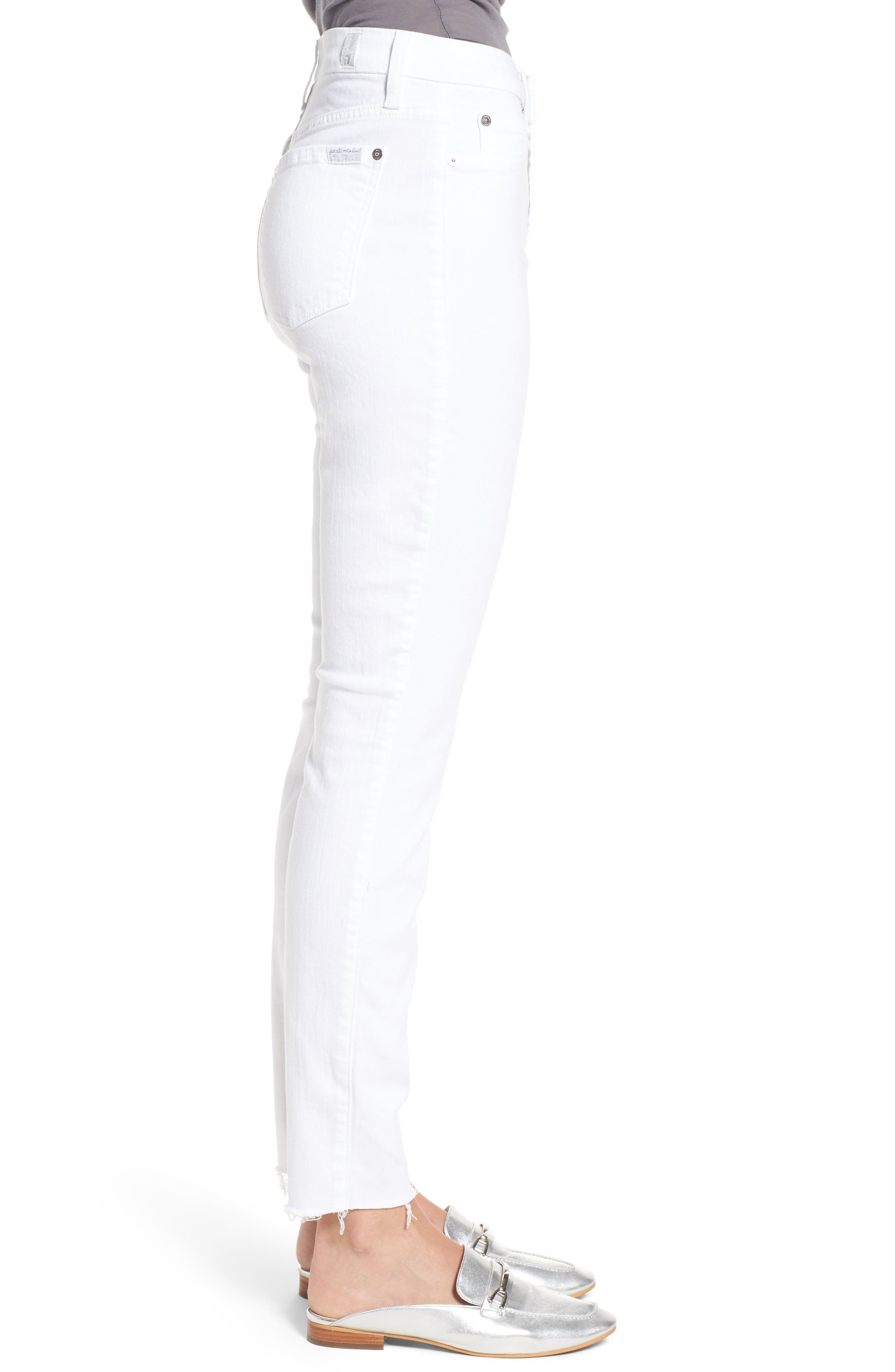 Alternate Image 3  - 7 For All Mankind® Raw Hem Skinny Jeans (Clean White Exclusive)