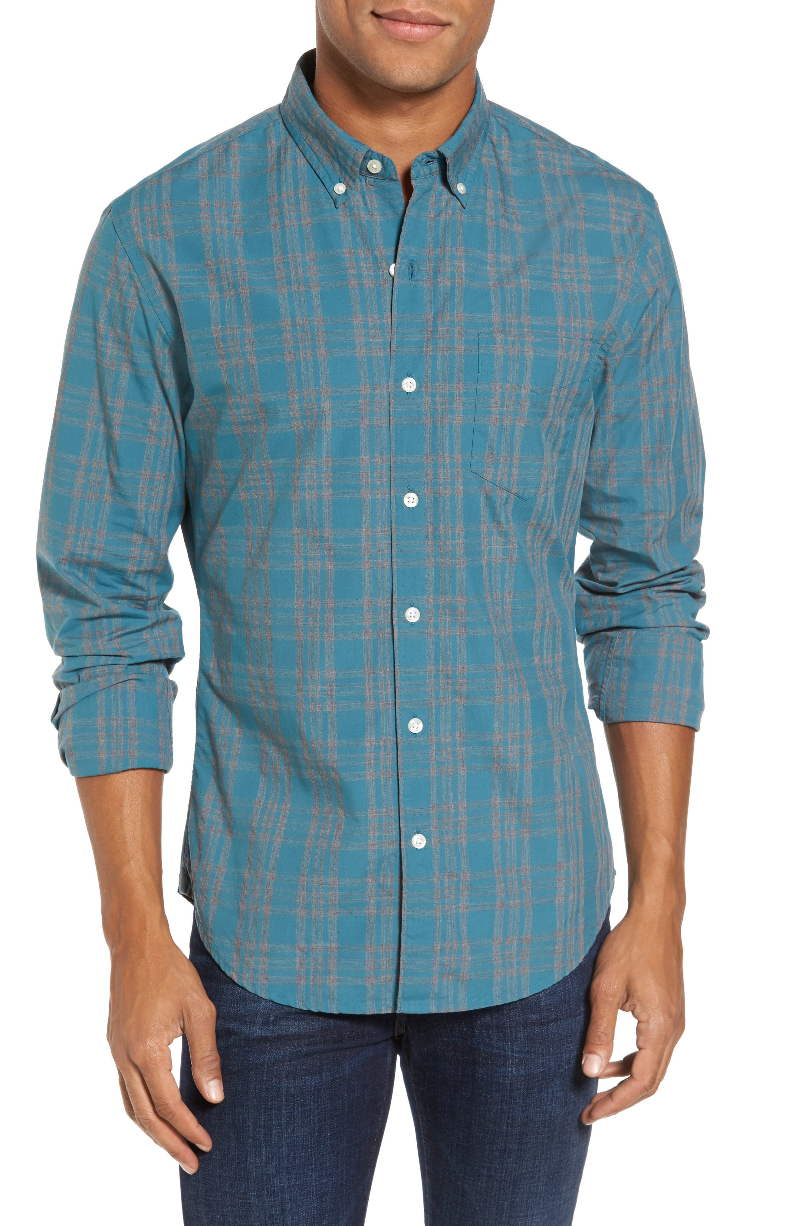 Slim Fit Check Sport Shirt,                         Main,                         color, Ace Green Check