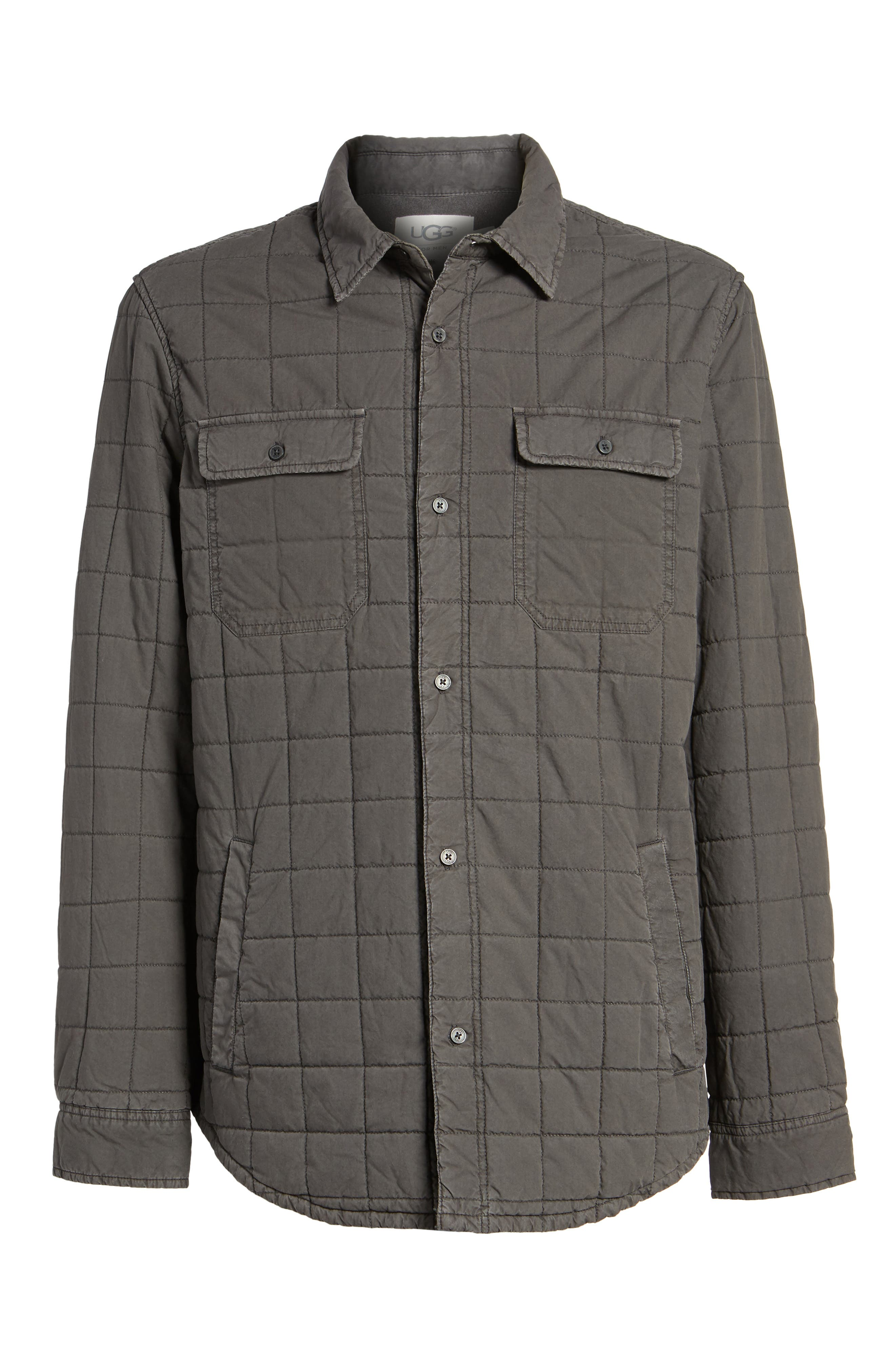 Quilted Shirt Jacket,                             Alternate thumbnail 6, color,                             Off Black