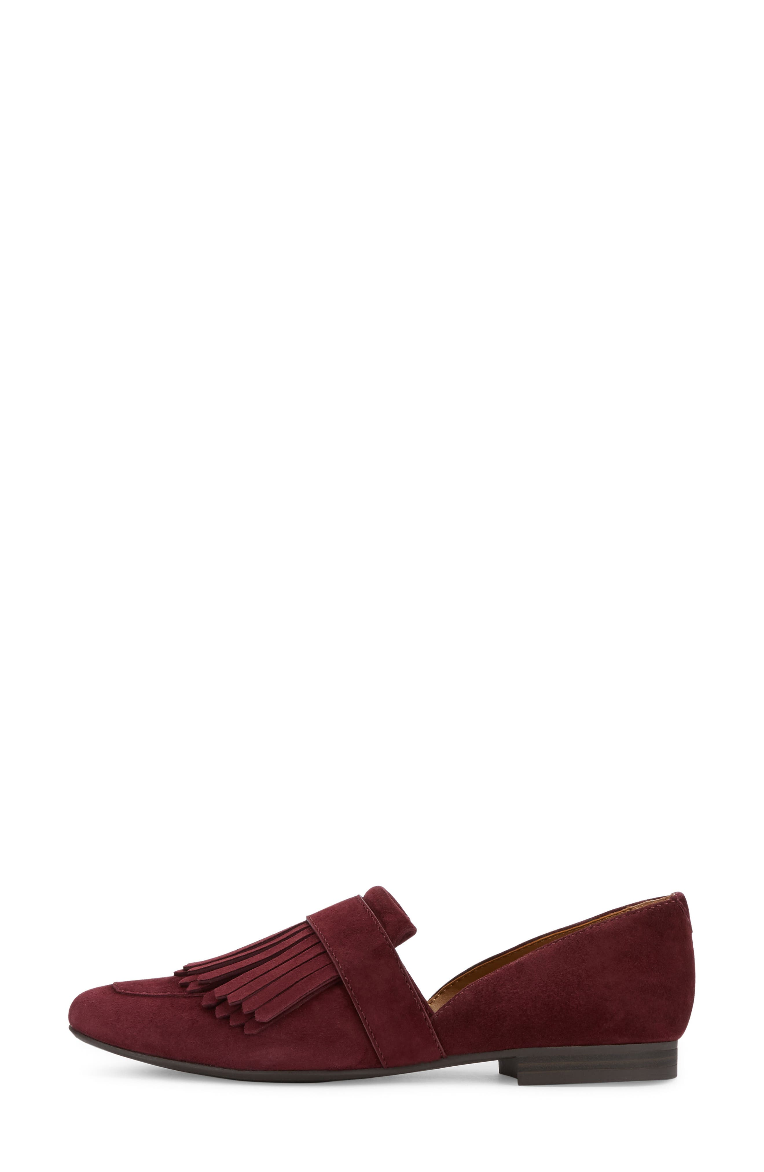 'Harlow' Kiltie Leather Loafer,                             Alternate thumbnail 3, color,                             Wine Suede