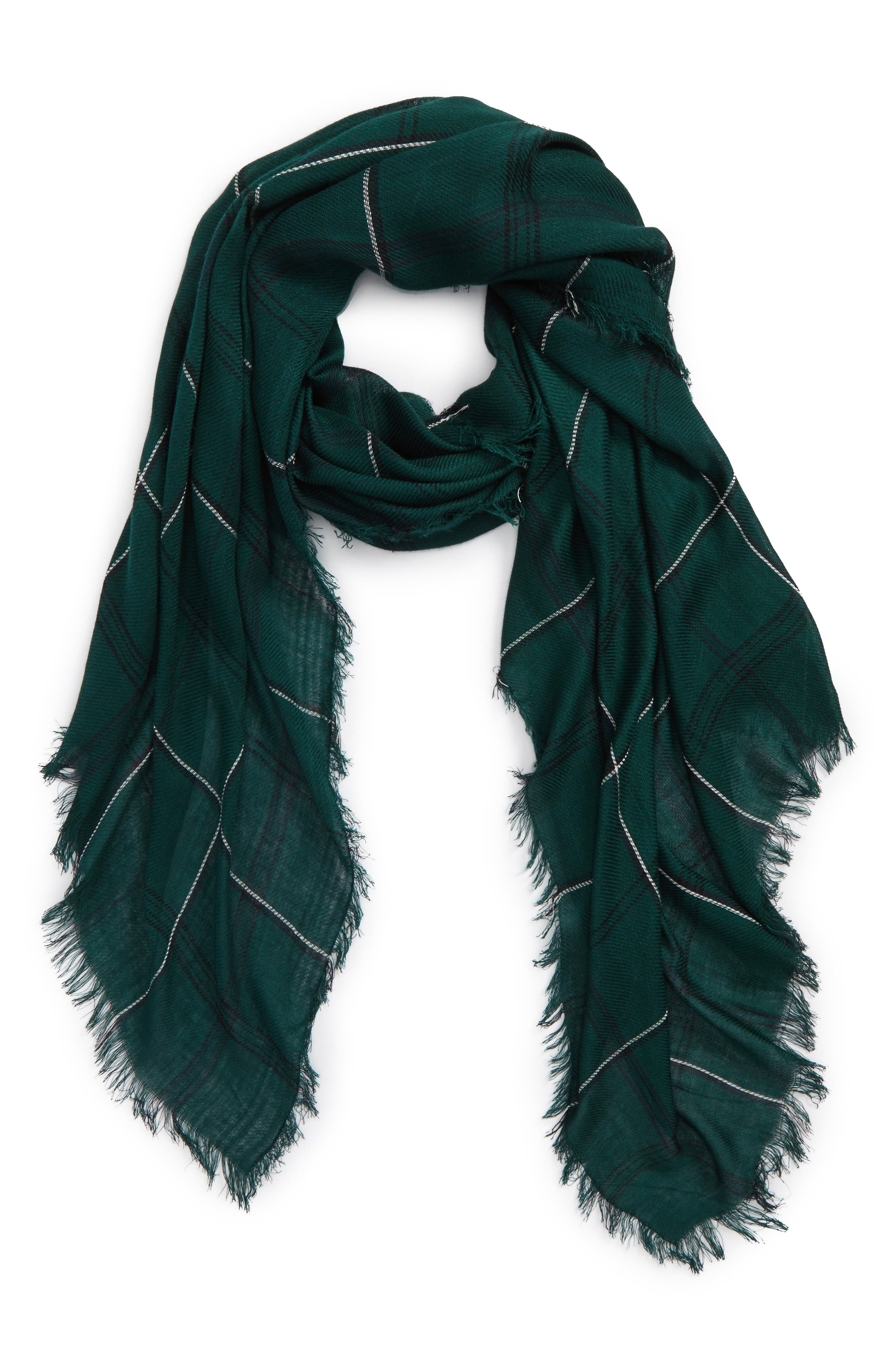 David & Young Grid Print Oblong Scarf