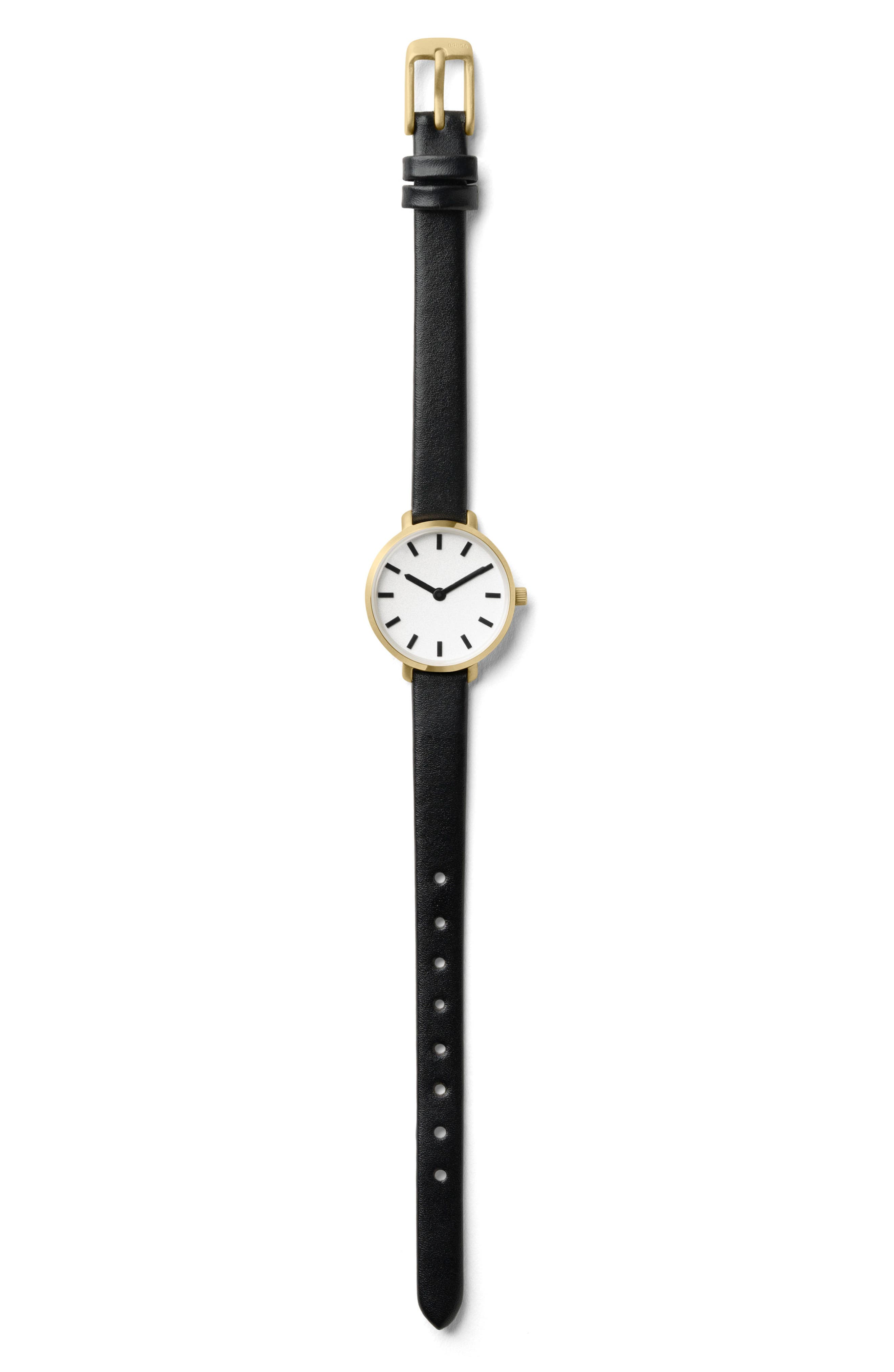 Beverly Round Leather Strap Watch, 26mm,                             Alternate thumbnail 3, color,                             Black/ Gold