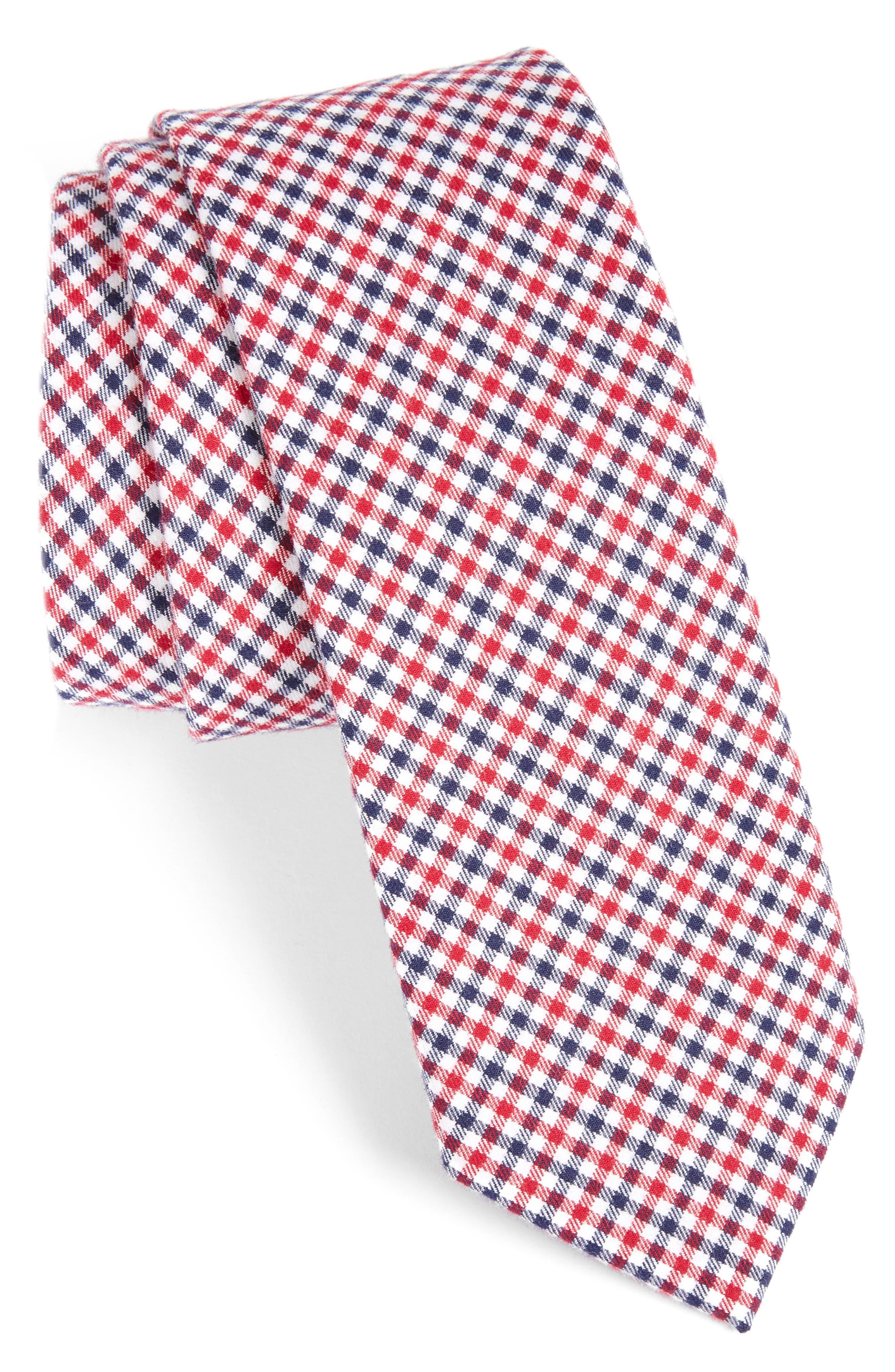 Plaid Cotton Tie,                         Main,                         color, Red