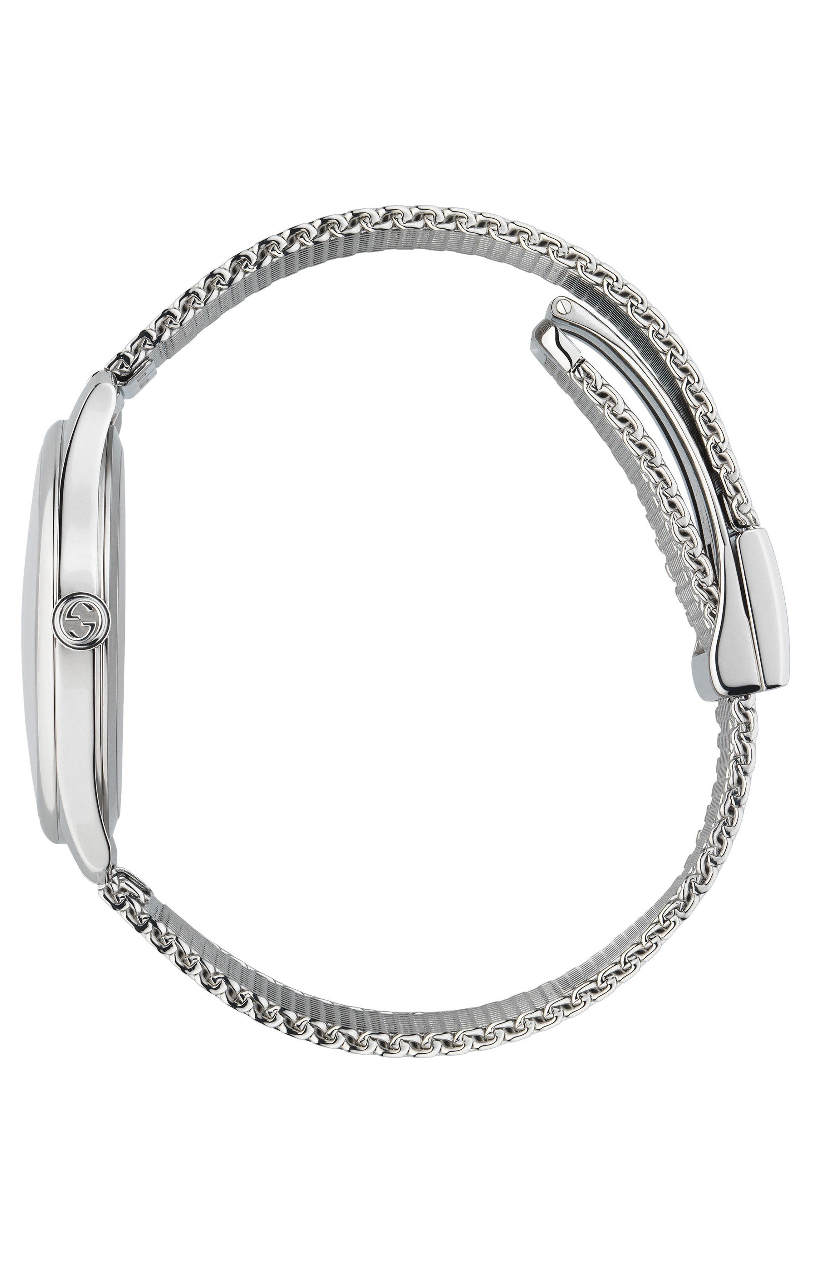 G-Timeless Mesh Bracelet Watch, 36mm,                             Alternate thumbnail 3, color,                             Silver/ Mop/ Silver