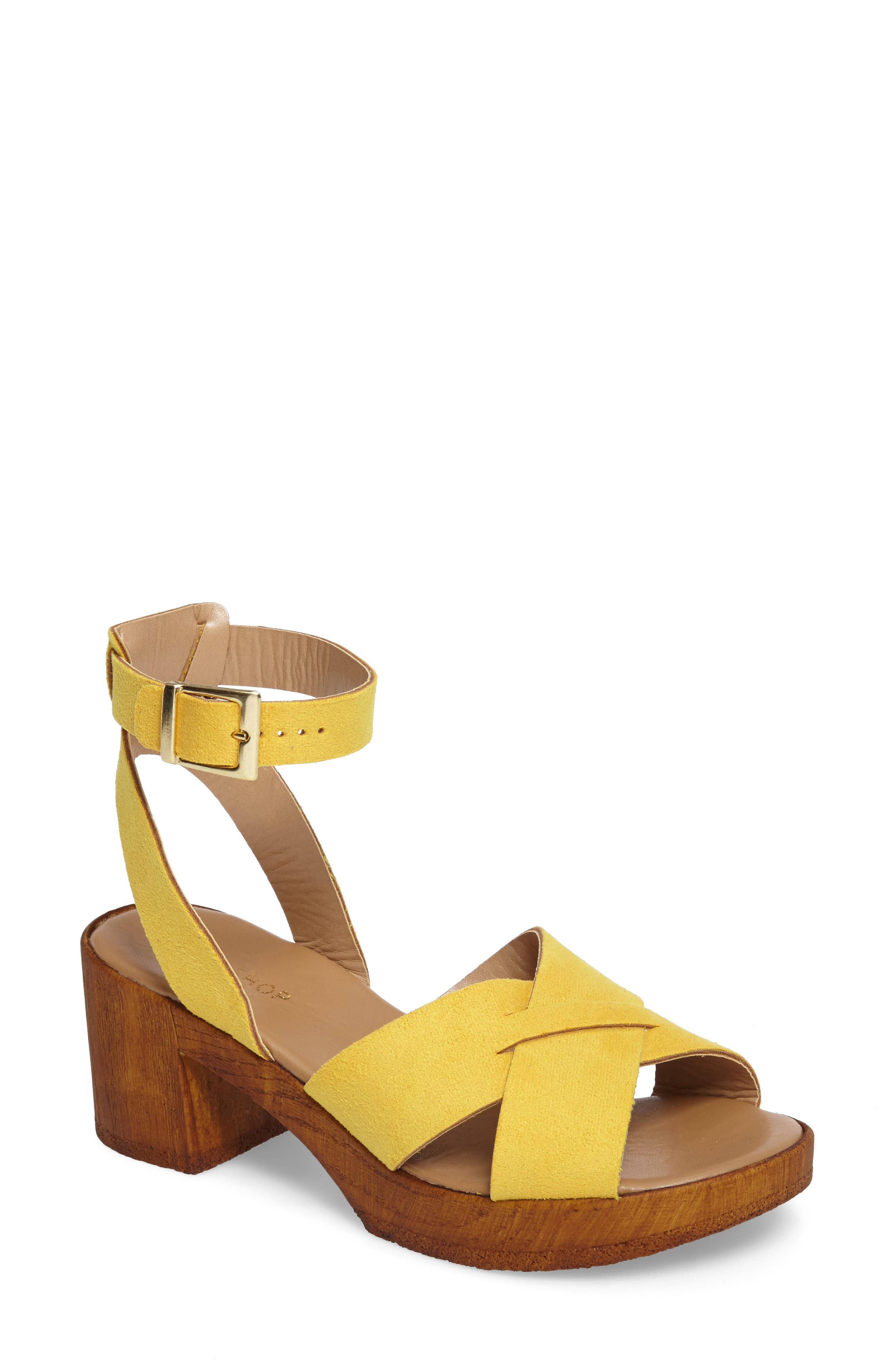 Dolly Block Heel Sandal,                         Main,                         color, Yellow