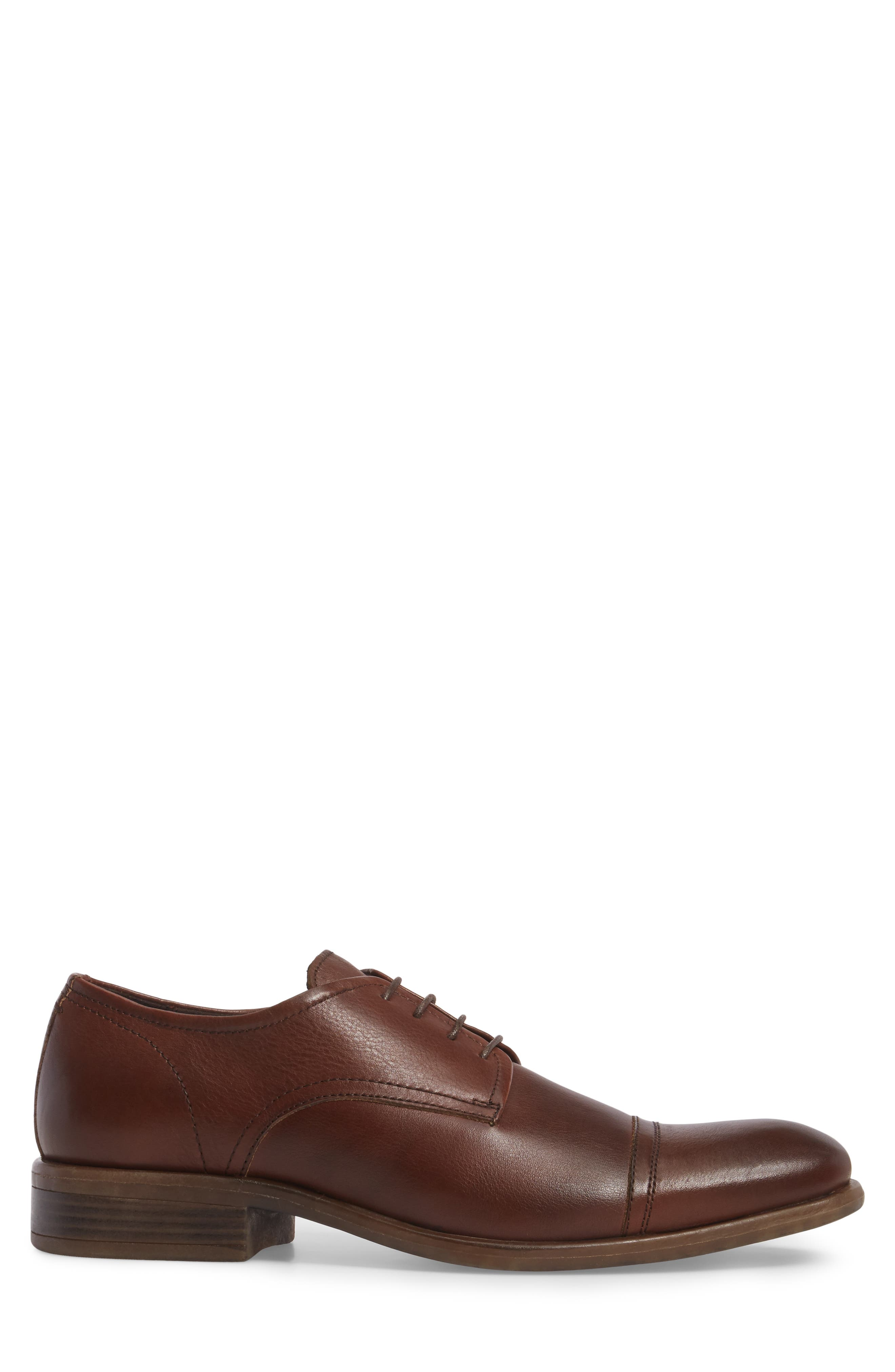 Cap Toe Derby,                             Alternate thumbnail 3, color,                             Cognac Leather