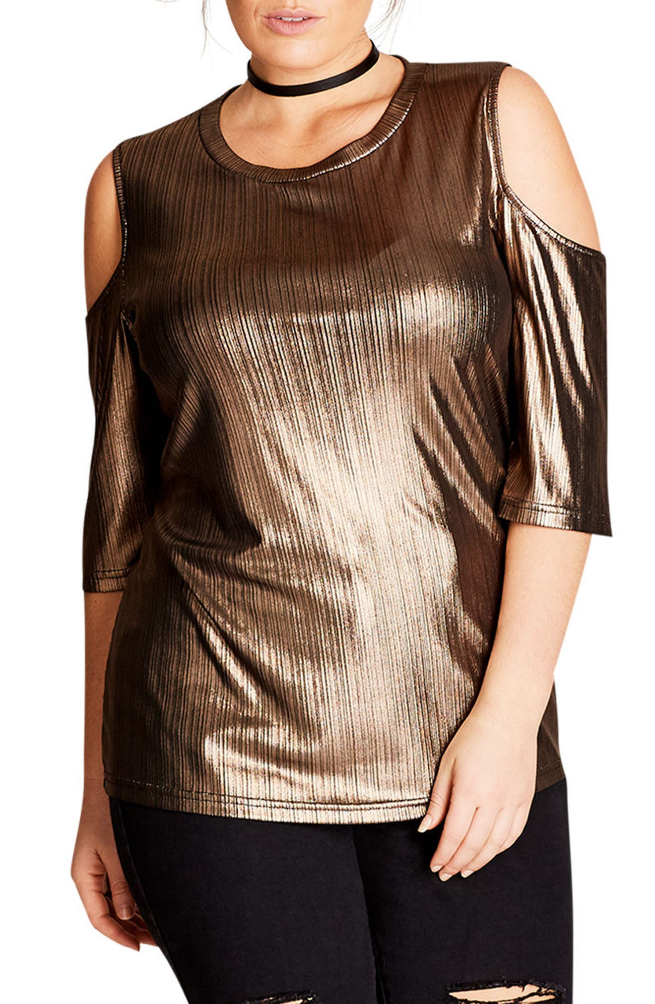 Main Image - City Chic Warriors Heart Cold Shoulder Top (Plus Size)