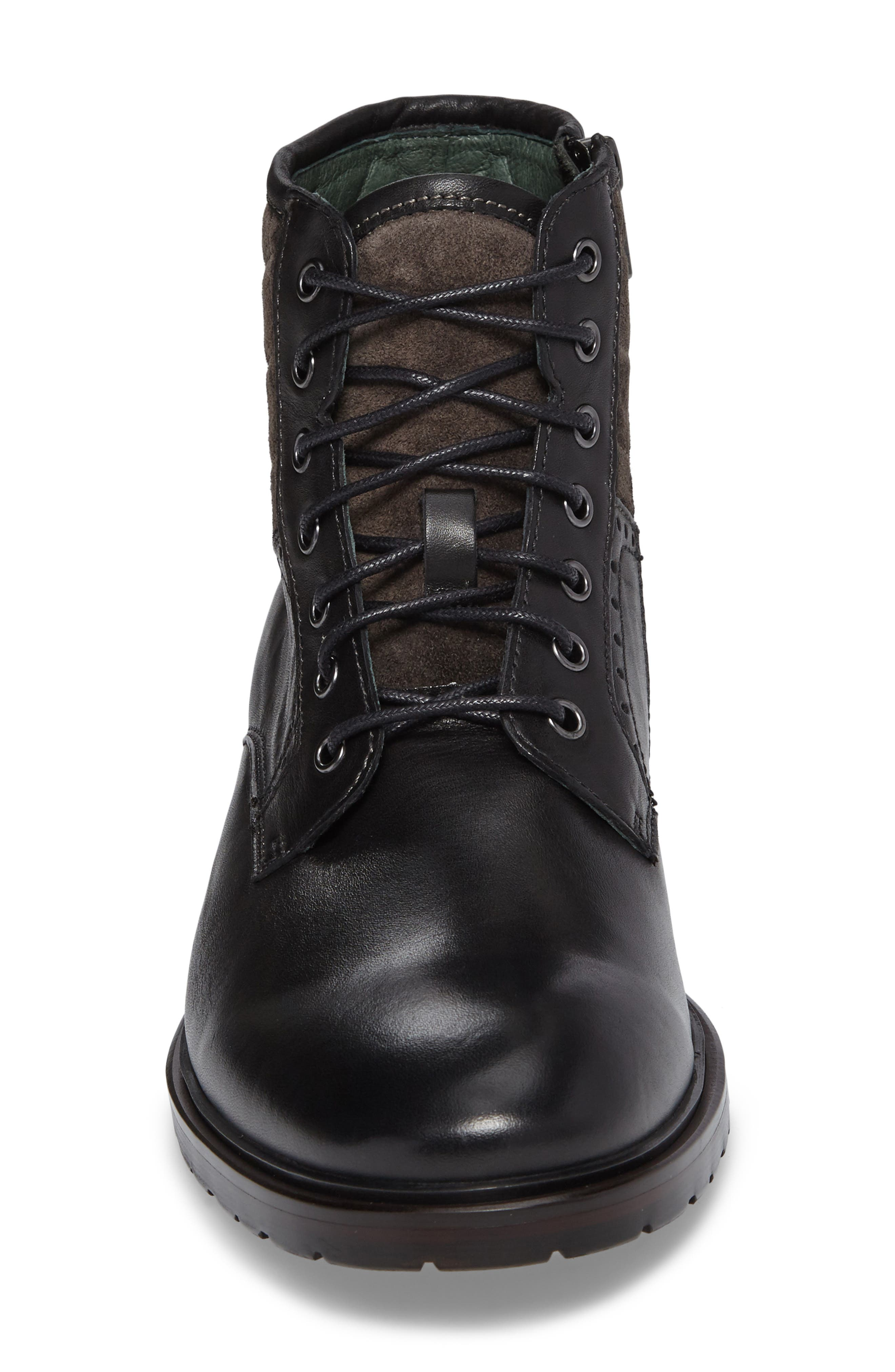 Myles Plain Toe Boot,                             Alternate thumbnail 4, color,                             Black Leather