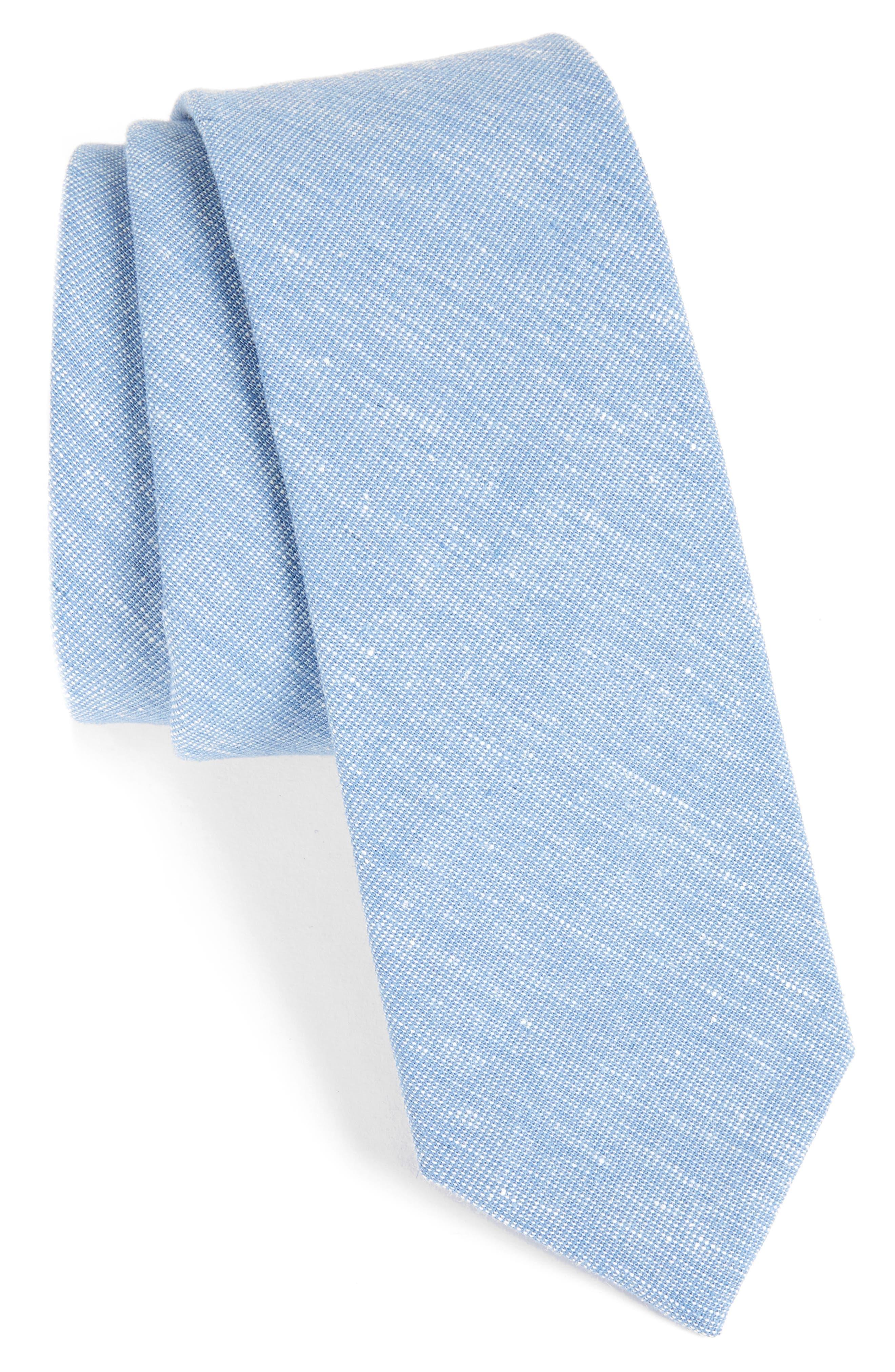 Solid Cotton Blend Tie,                         Main,                         color, Blue