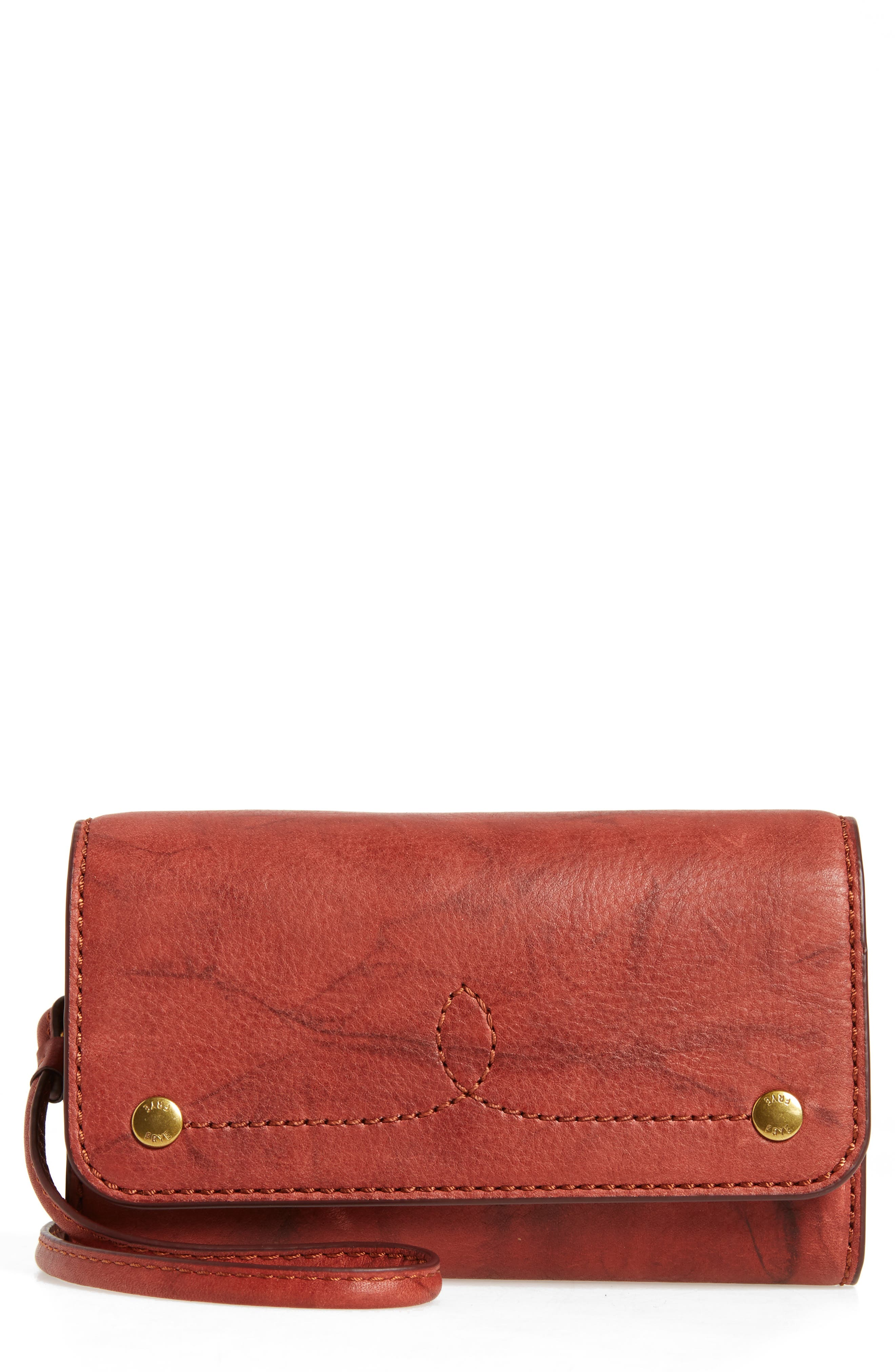 Campus Rivet Leather Smartphone Wallet with Crossbody Strap,                             Main thumbnail 1, color,                             Burnt Red