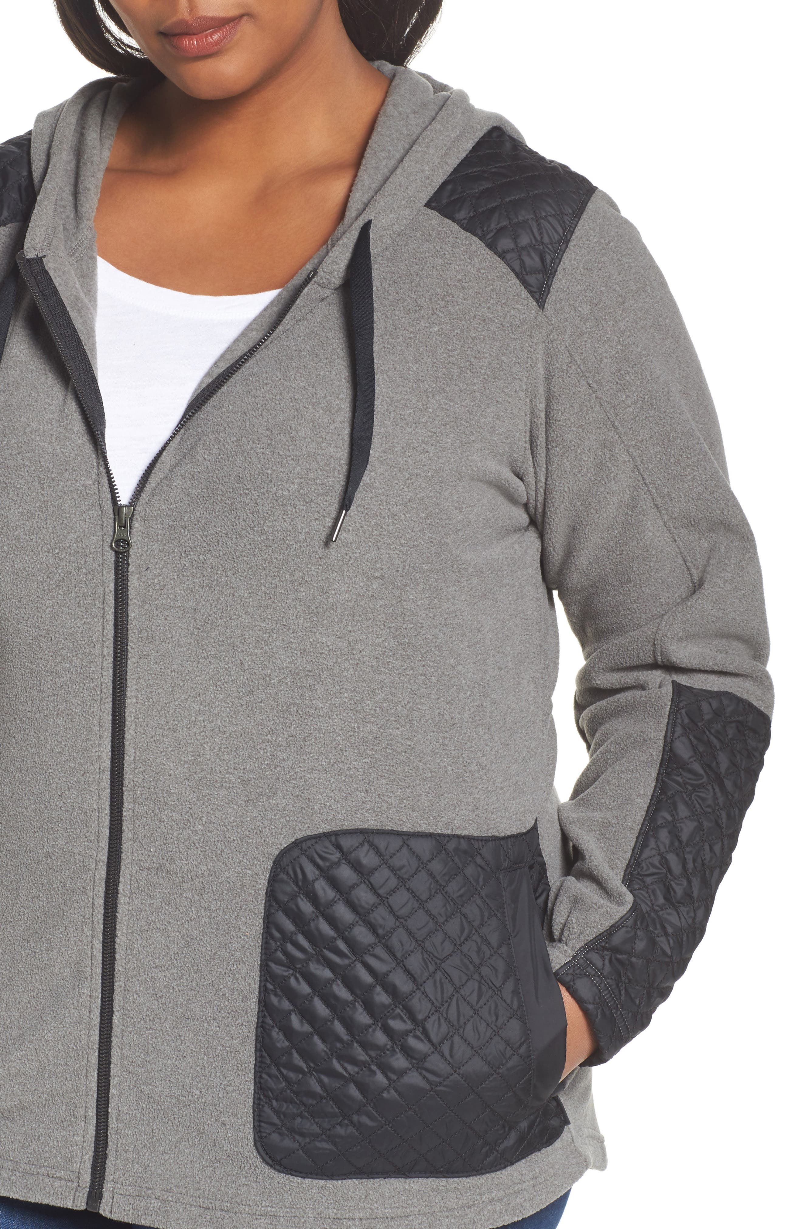 Warm Up Hooded Fleece Jacket,                             Alternate thumbnail 4, color,                             Charcoal Heather