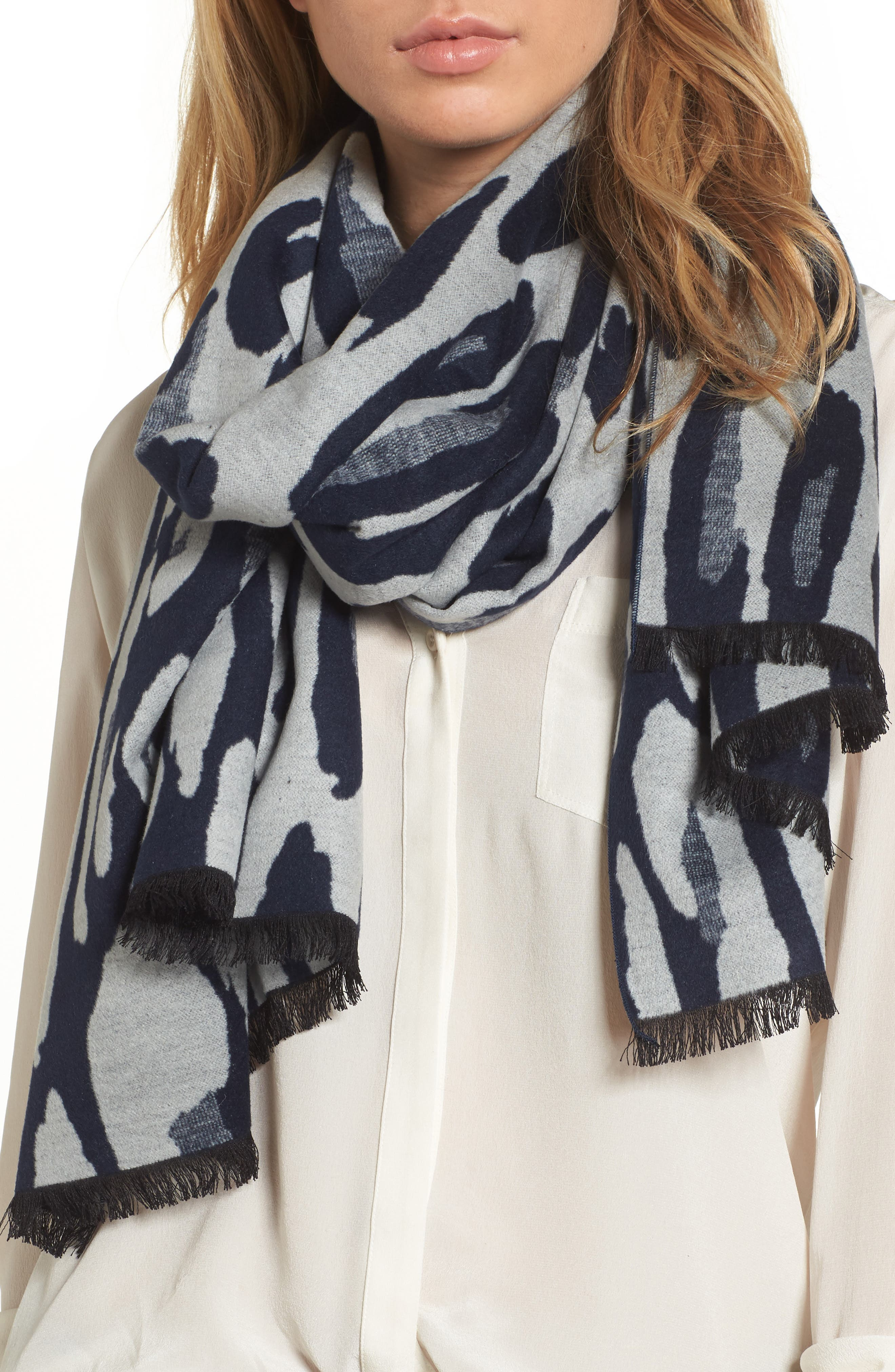 Leopard Print Brushed Silk Scarf,                         Main,                         color, Navy