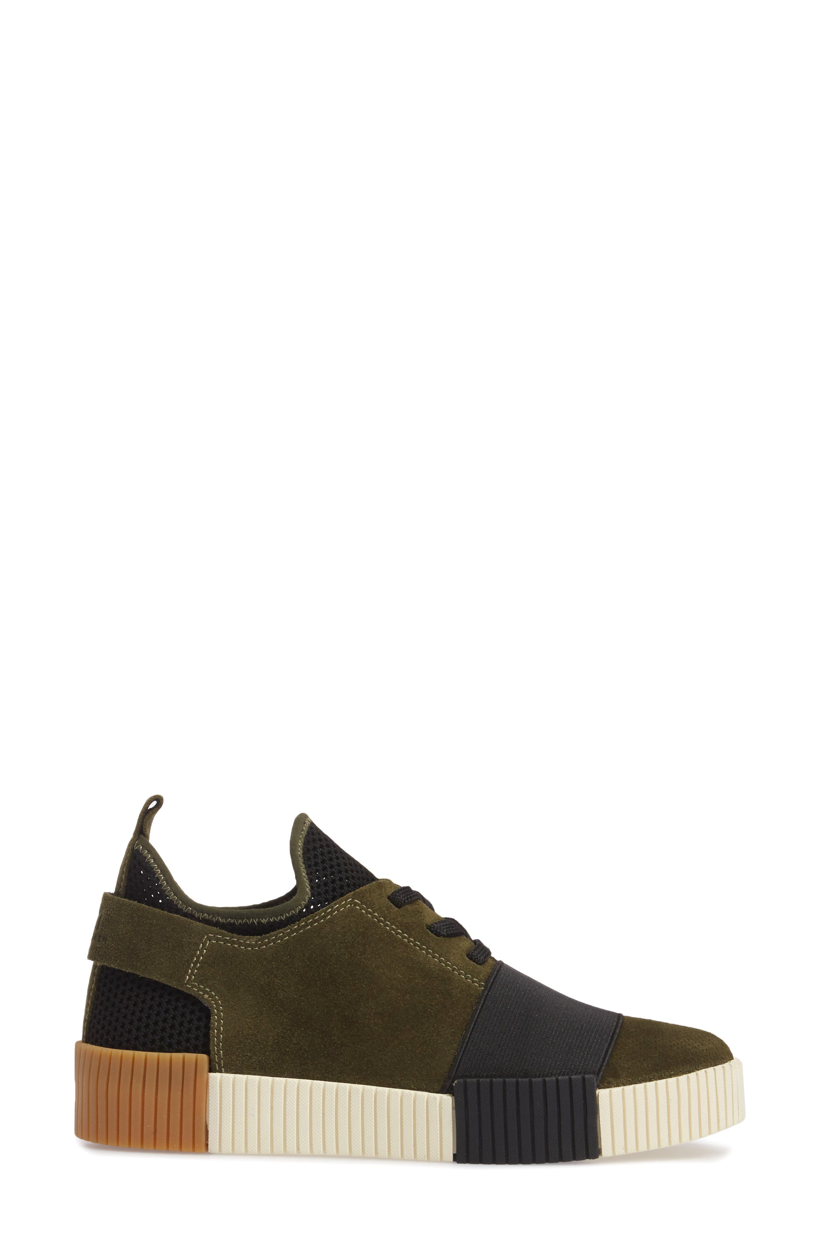 Ryley Platform Sneaker,                             Alternate thumbnail 3, color,                             Green Leather